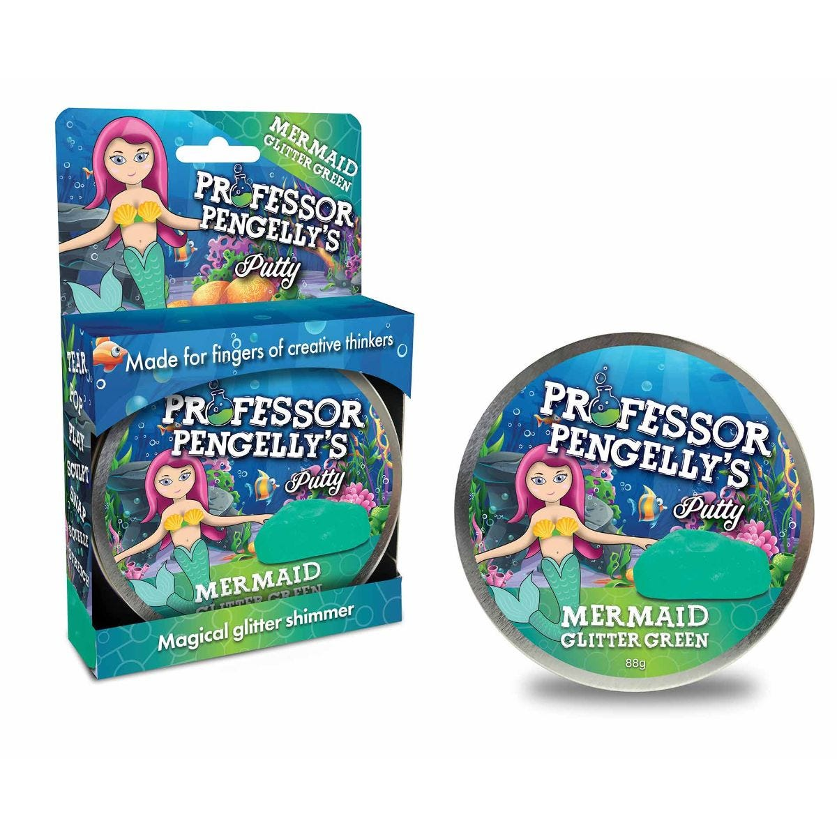 Image of Professor Pengelly's Putty Mermaid Green Glitter, Green