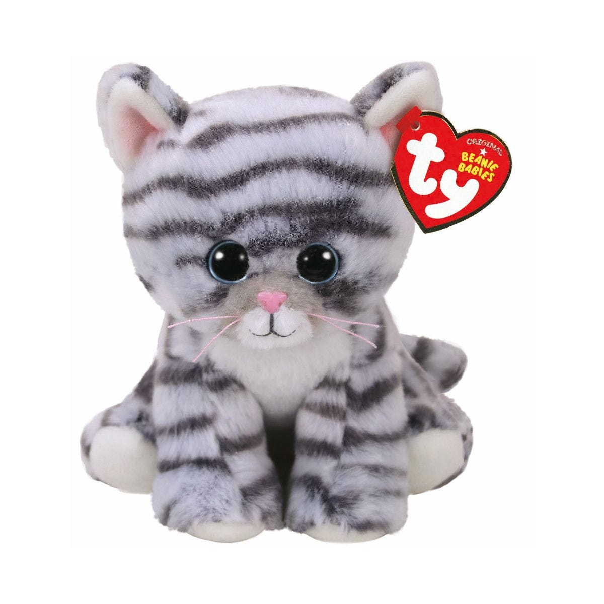 Image of Ty Millie Grey Tabby Cat Beanie Baby Cuddly Toy