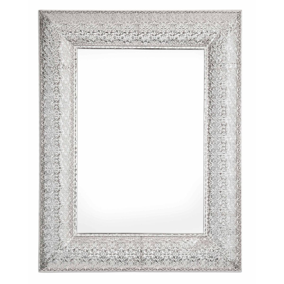 Marrakesh Metal Rectangular Mirror Silver, Silver