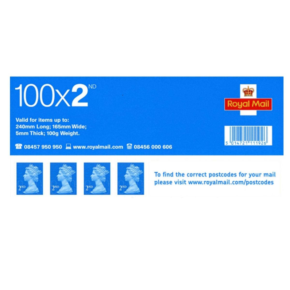 Image of 2nd Class Postage Stamps Sheet of 100 *