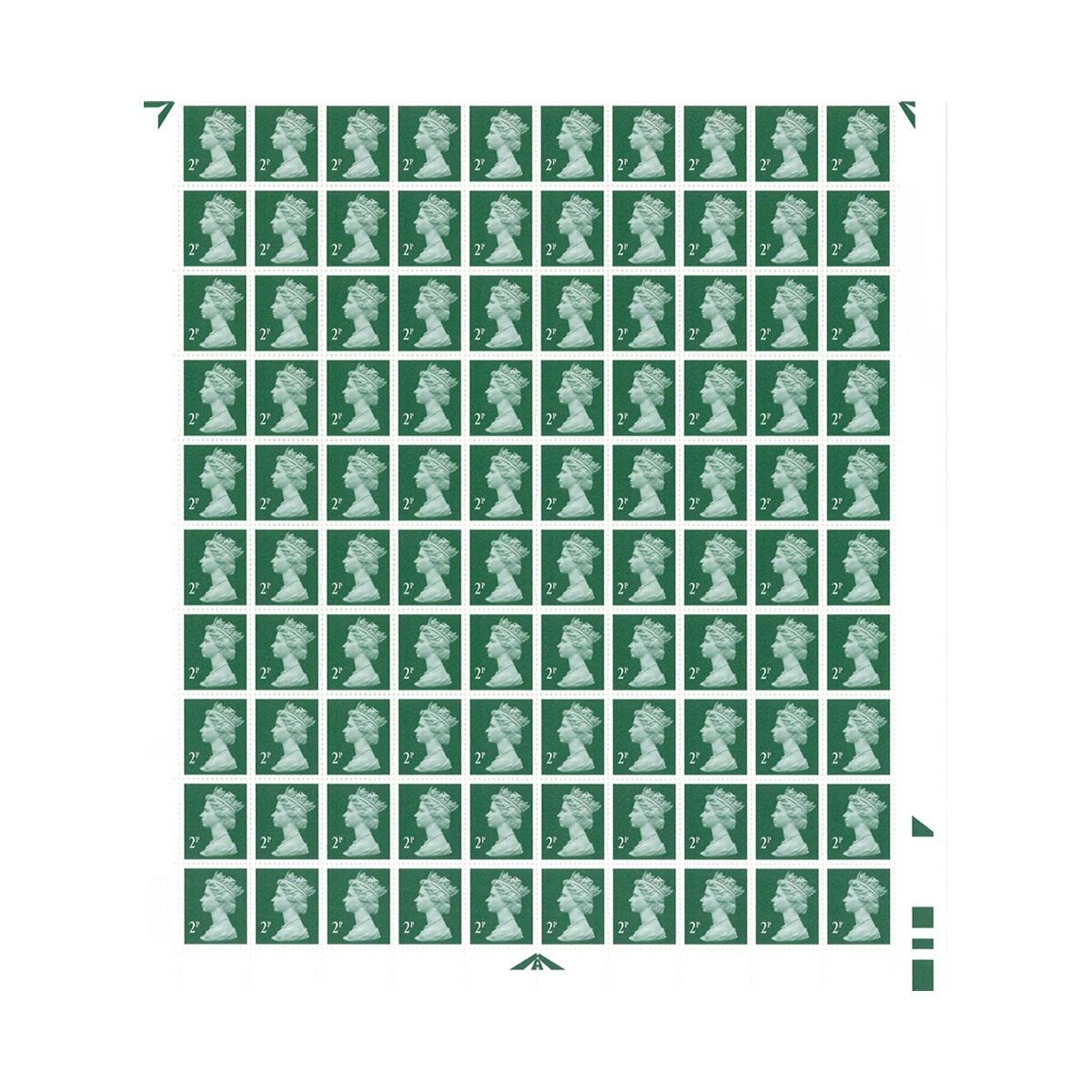 Image of 2p Postage Stamps Sheet of 100 *