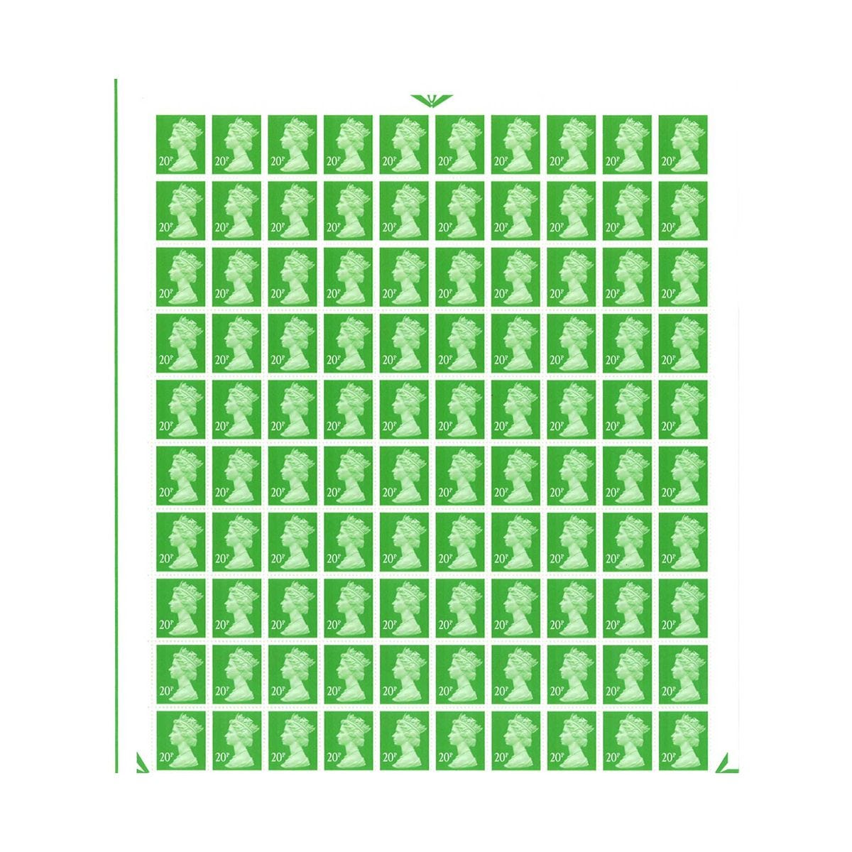 Image of 20p Postage Stamps Sheet of 100 *