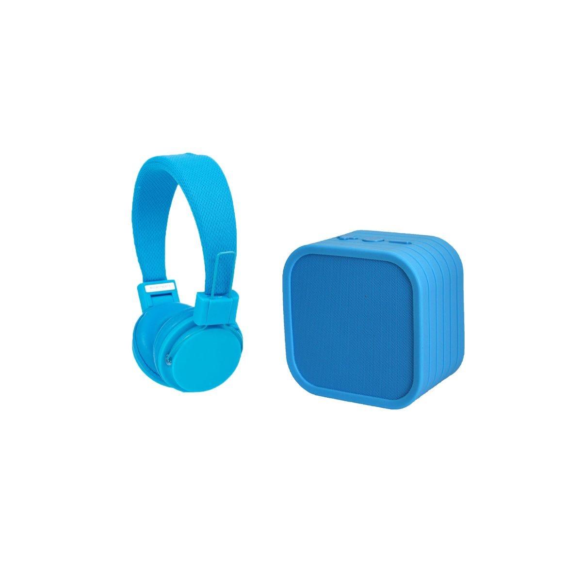 Image of Vivitar Neon Bluetooth Speaker and Headphones Blue, Blue