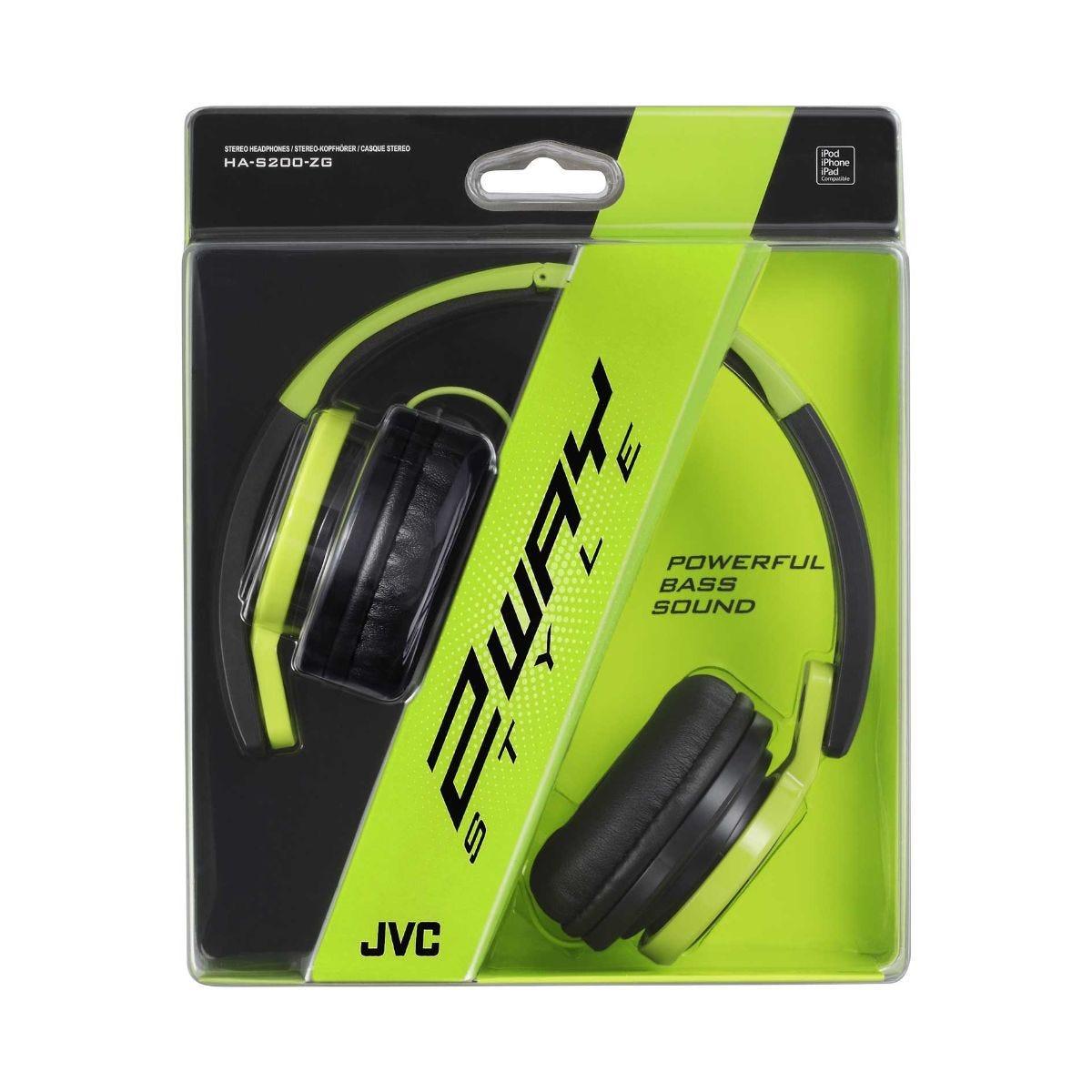 JVC S200 Headphones, Green.
