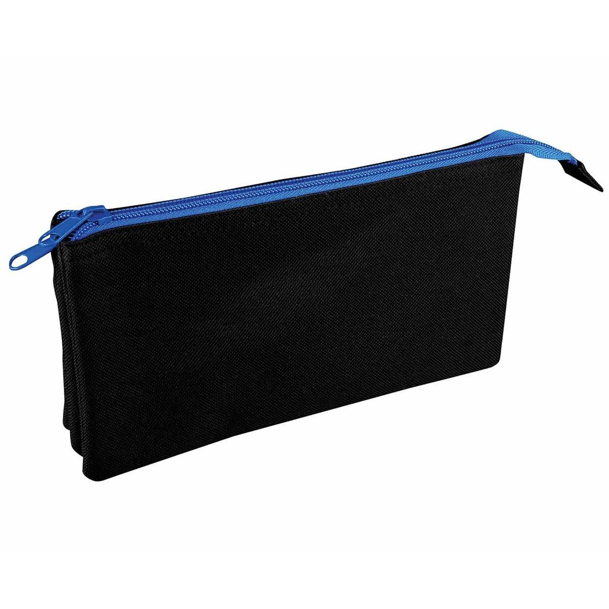 Image of Flat Triple Pocket Pencil Case Assorted Zip, Black