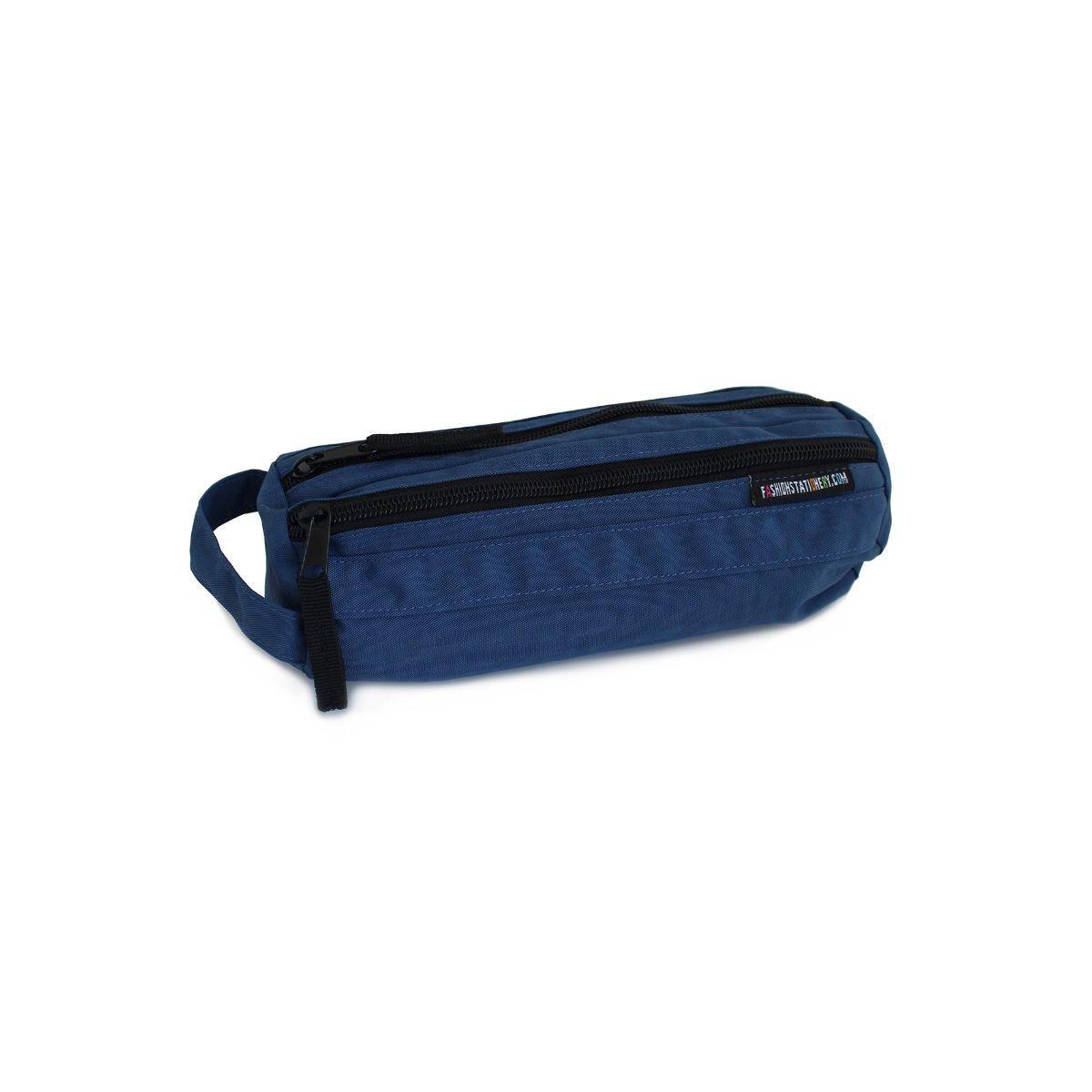 Image of 2 Zip Canvas Pencil Case Blue, Blue