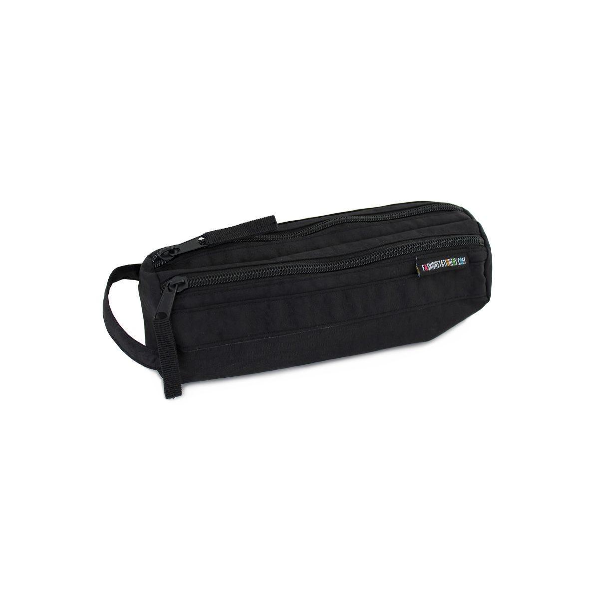 Image of 2 Zip Canvas Pencil Case Black, Black