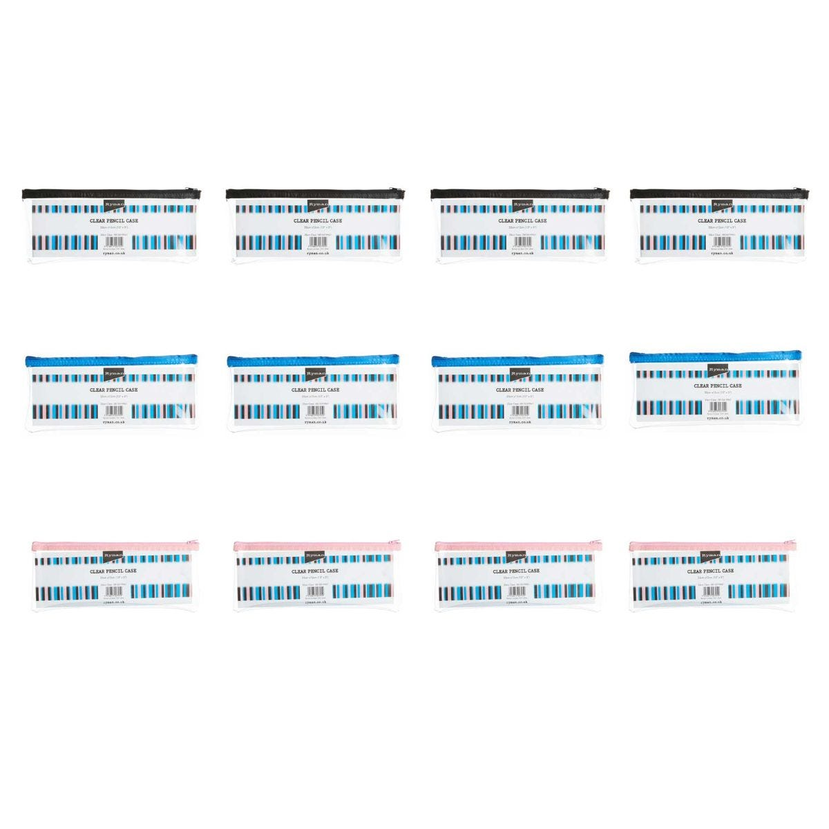Image of Ryman Pencil Case 13x5 Pack of 12 Clear, Clear