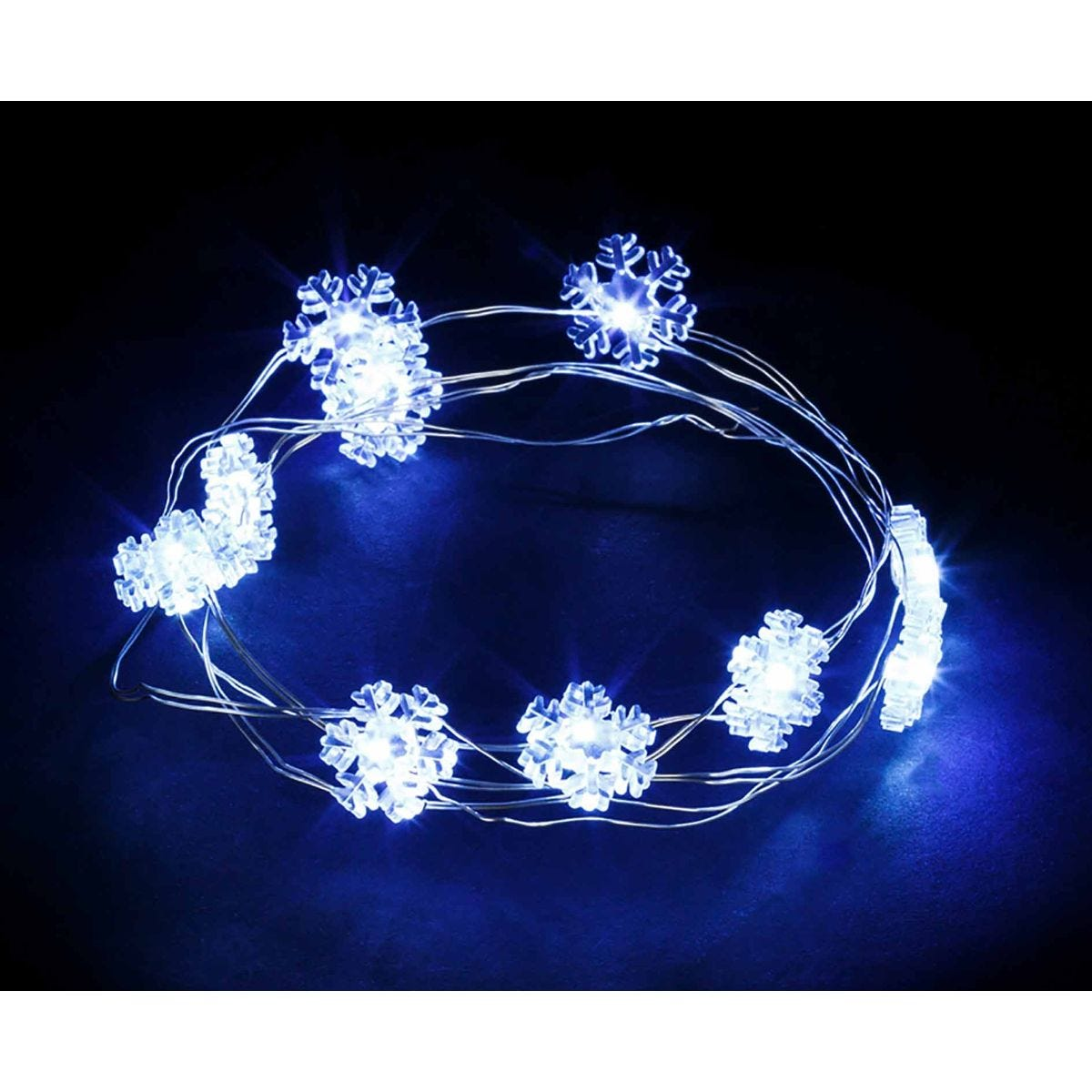 Image of 20 Copper String Lights Snowflake, White