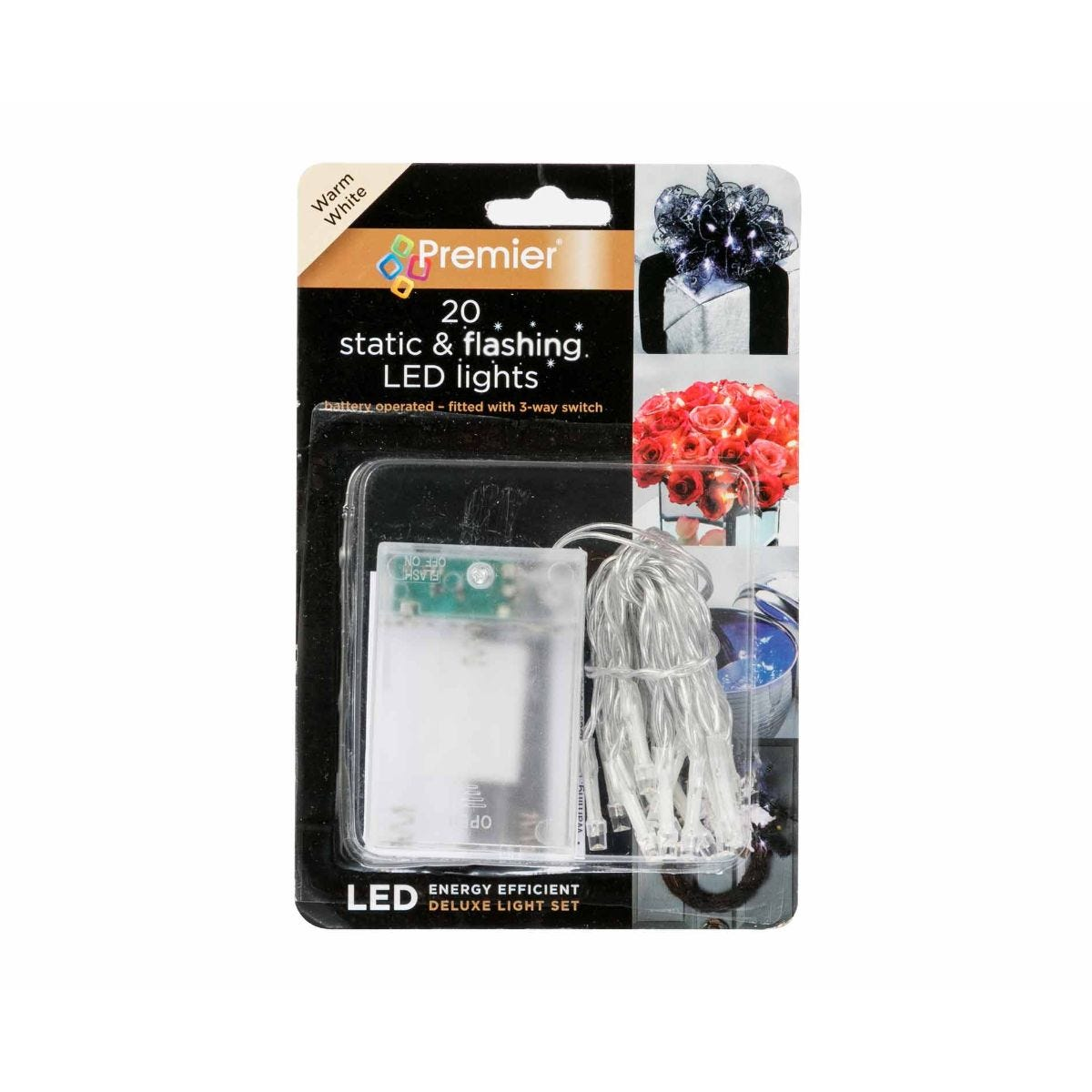 20 Battery Operated LED Lights Static and Flash Warm White, Warm White