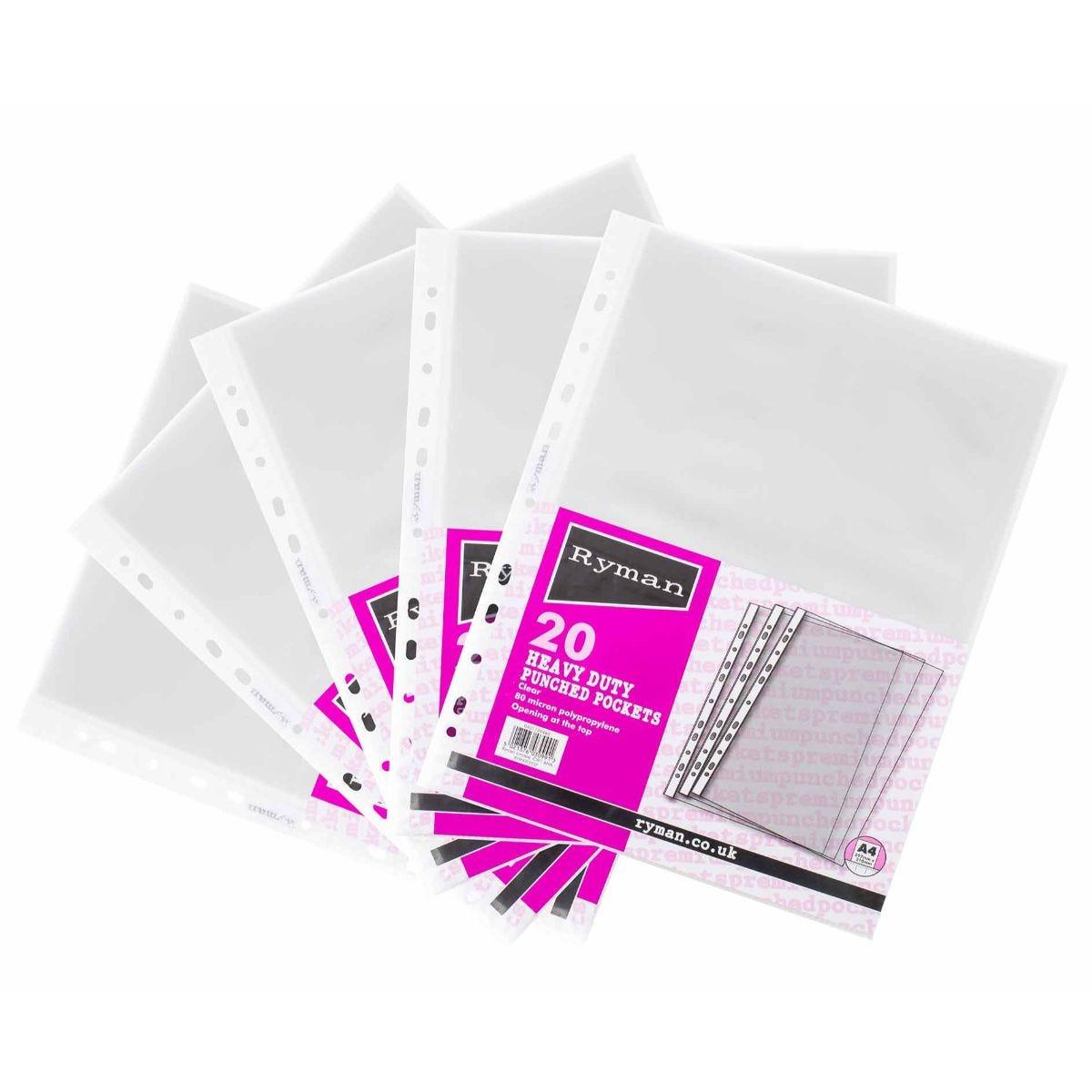 Ryman Premium Pockets 80mic A4 Pack of 100 Clear