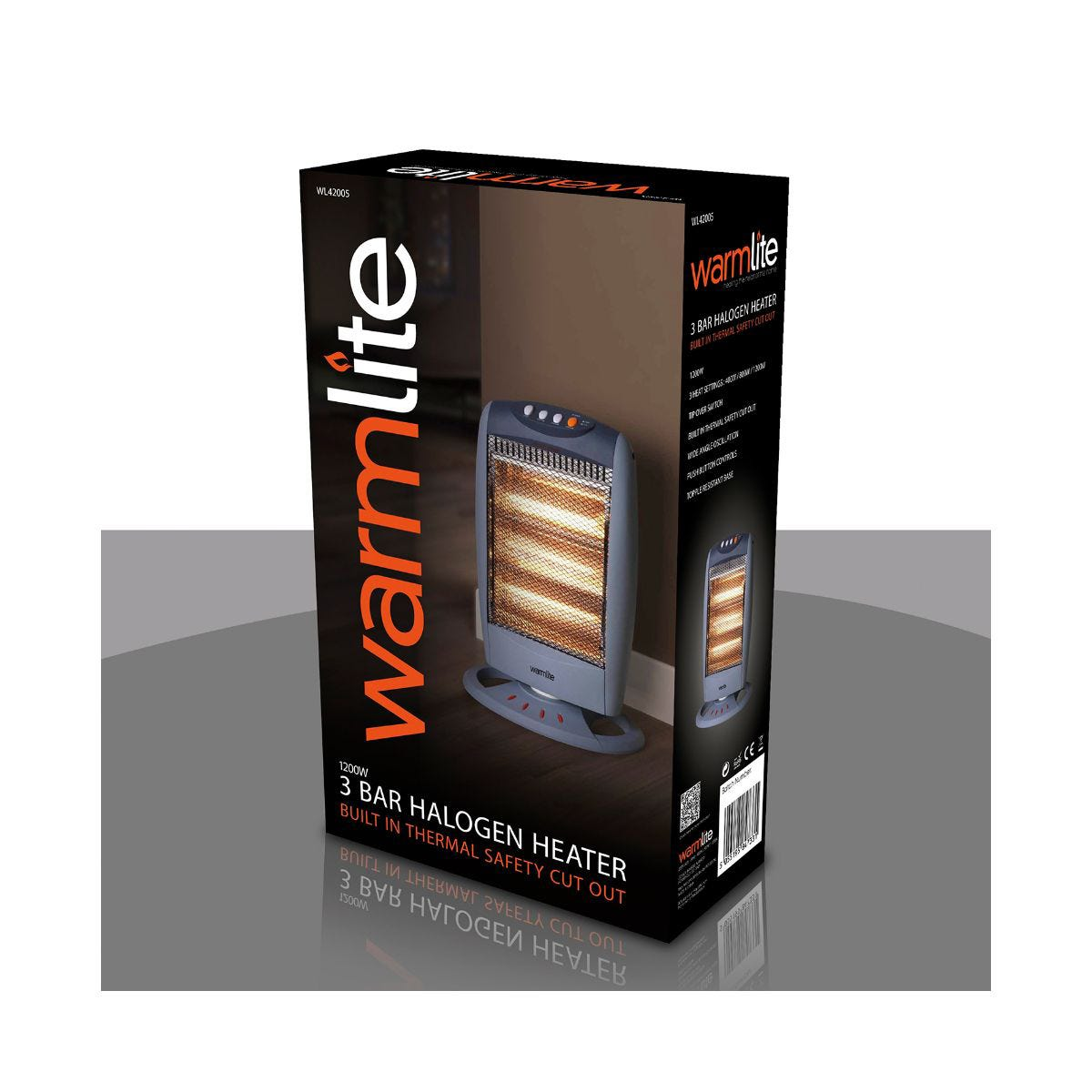 Image of 1200w Halogen Heater, Grey