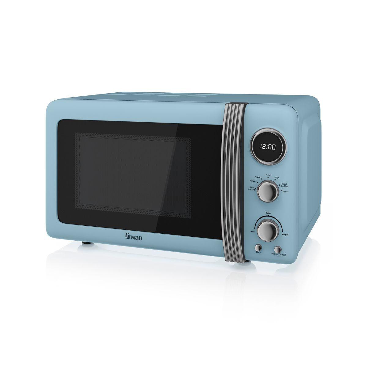 Image of 800W Retro Digital Microwave, Blue