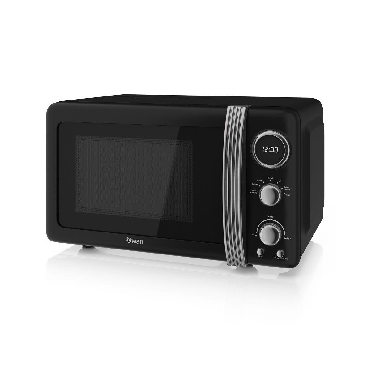 800W Retro Digital Microwave, Black