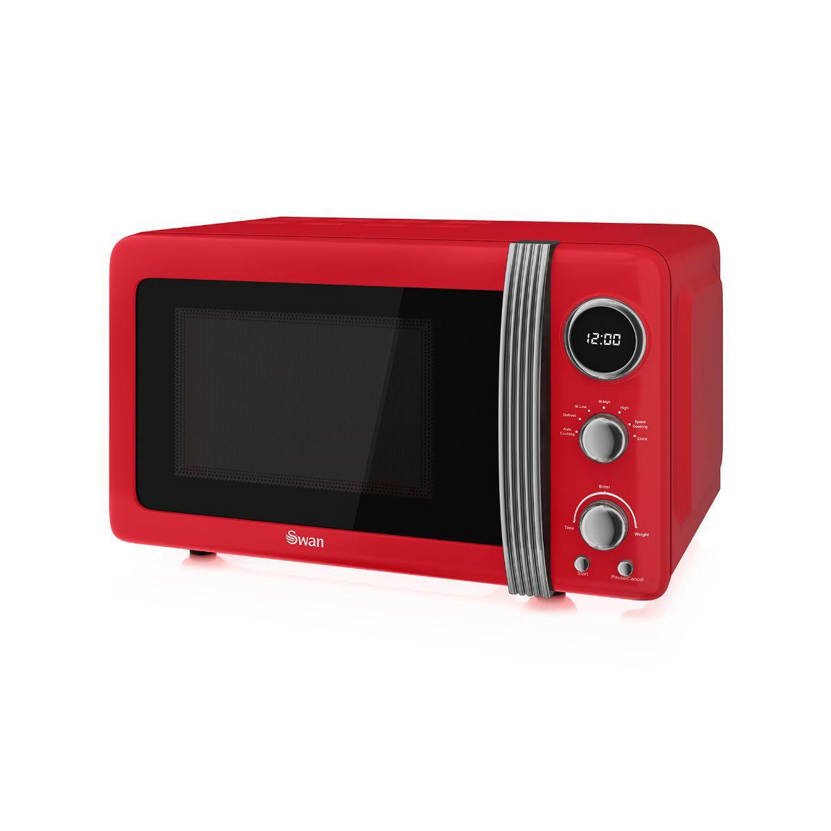 Image of 800W Retro Digital Microwave, Red