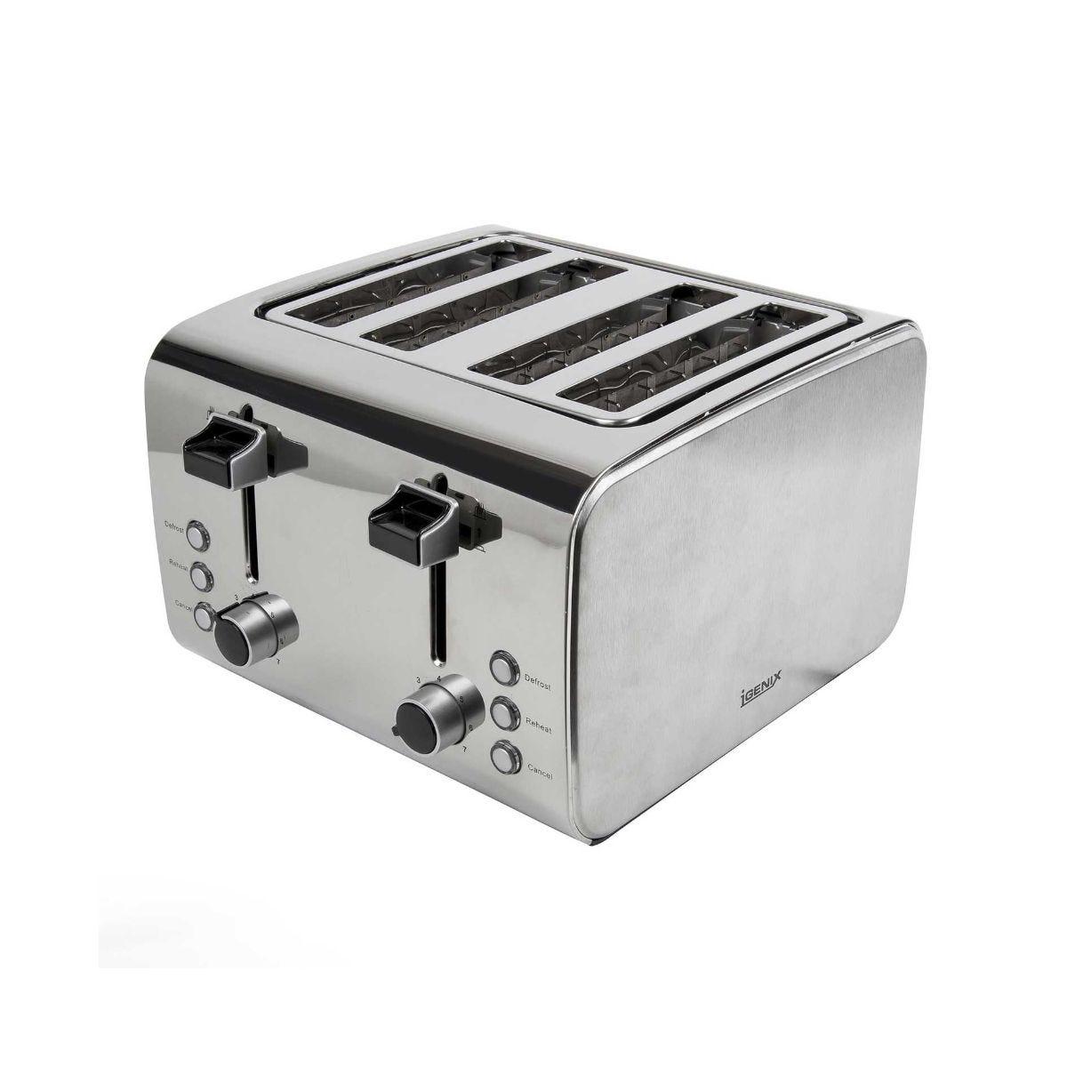 Igenix 4 Slice Toaster Stainless Steel Brush and Polish