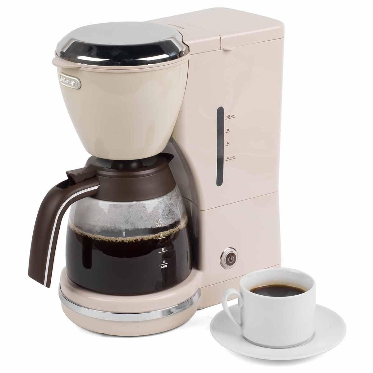 DeLonghi Icona Vintage Drip Coffee Machine 1.25 Litre 1000W, Beige