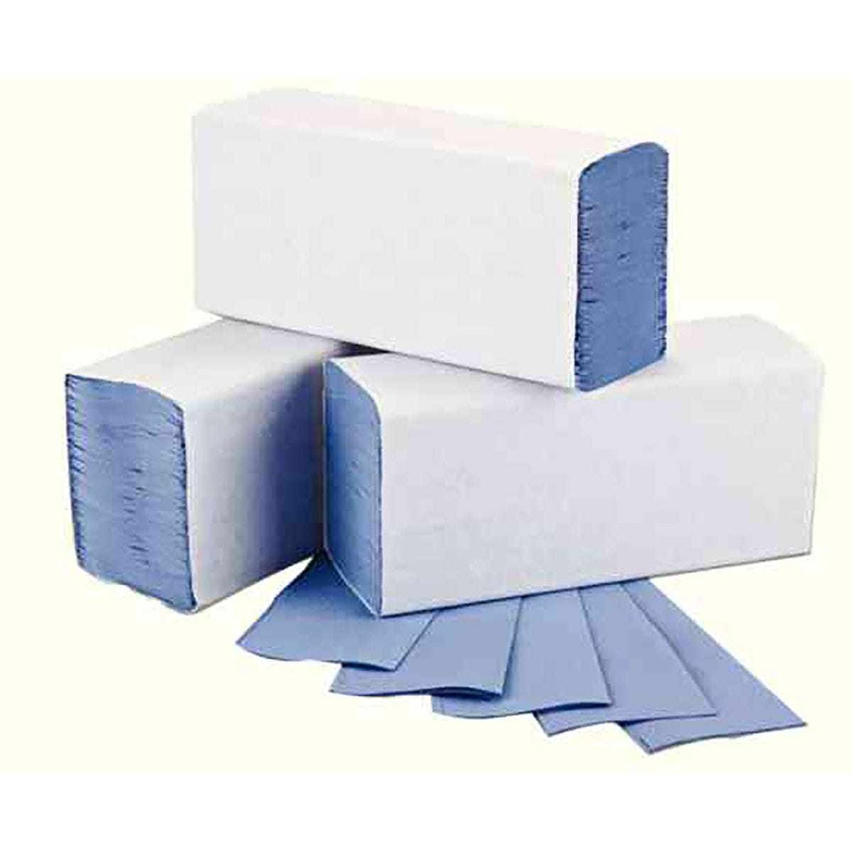 Image of 2Work Blue 1-Ply M-Fold Hand Towel 242x240mm Pack of 3000