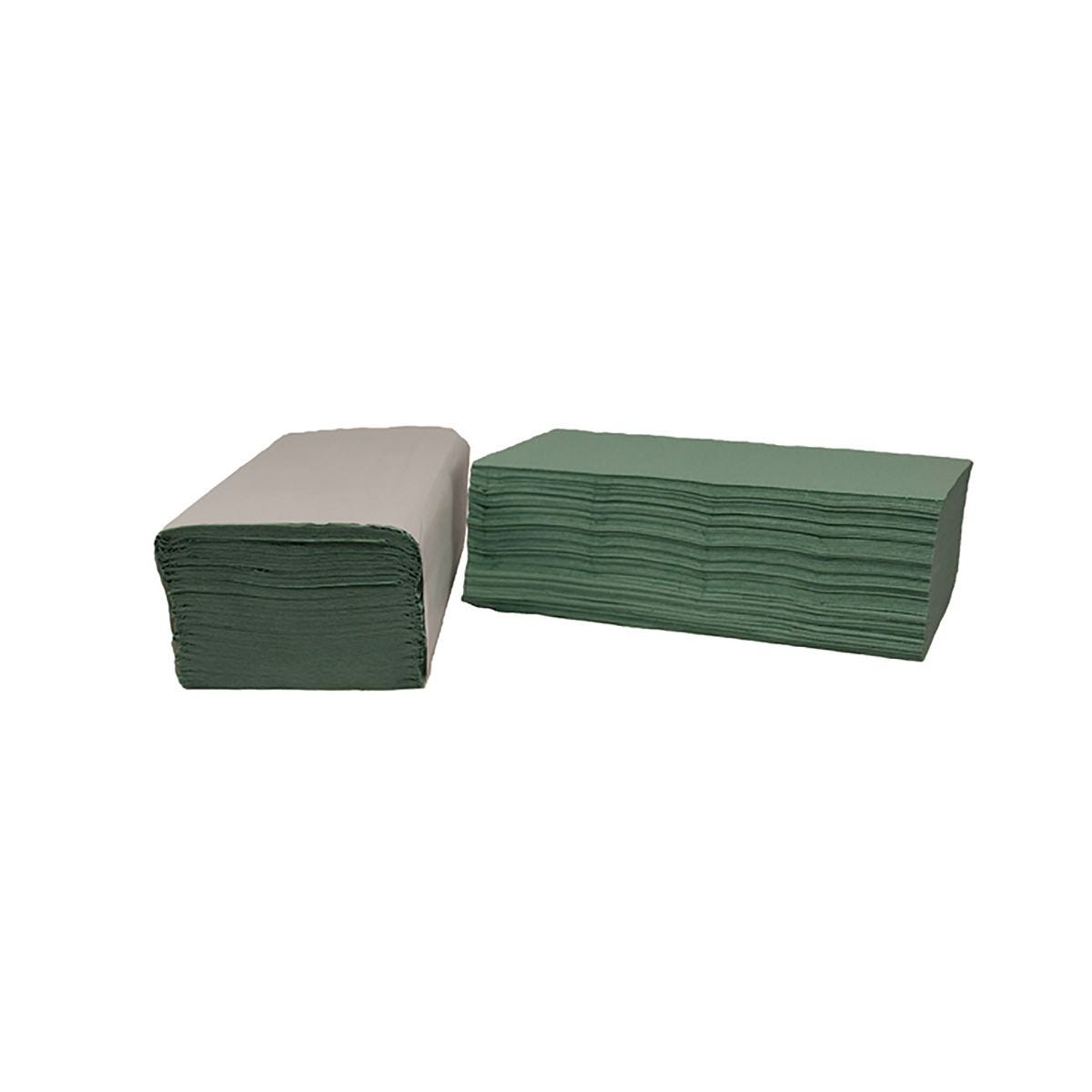 Image of 2Work I-Fold 1-Ply Hand Towels 190x250mm Pack of 3600 Green, Green