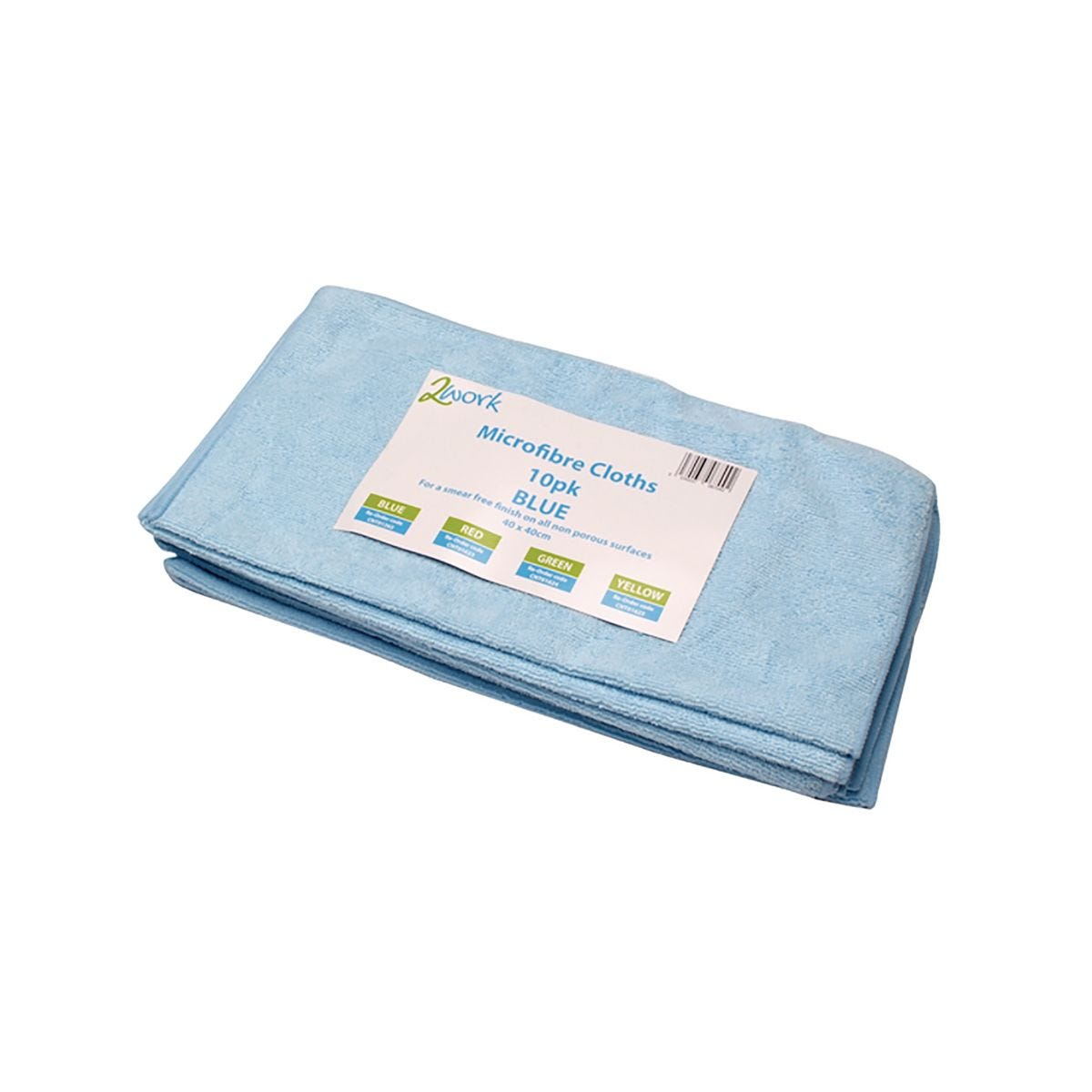 Image of 2Work Microfibre Cloth Blue 400 x 400mm Pack of 10