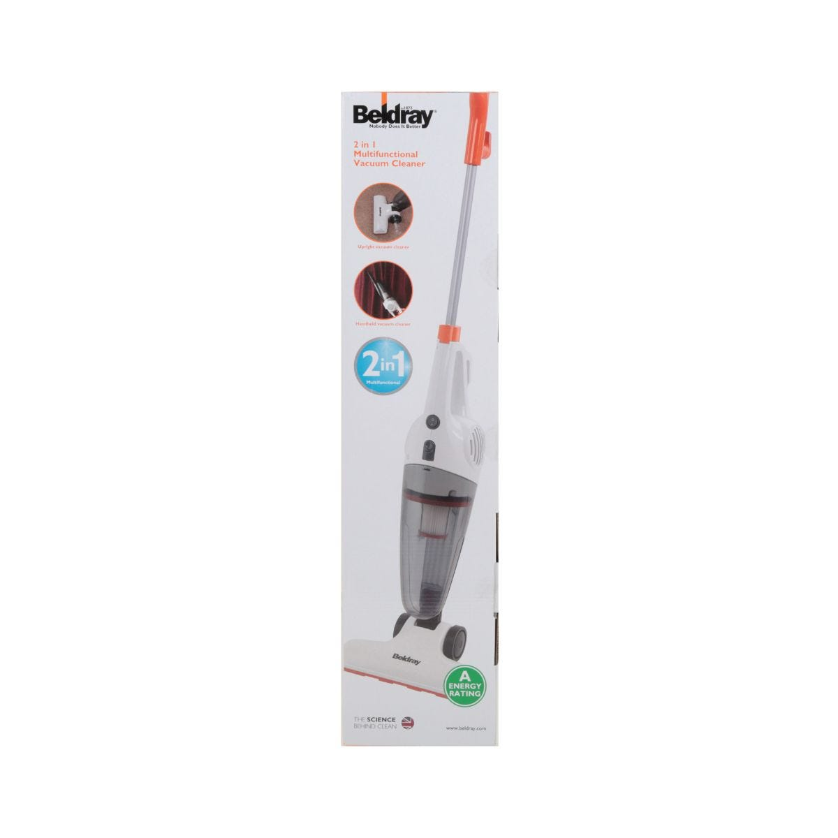 Image of Beldray 2 in 1 Stick Vac, Orange and White