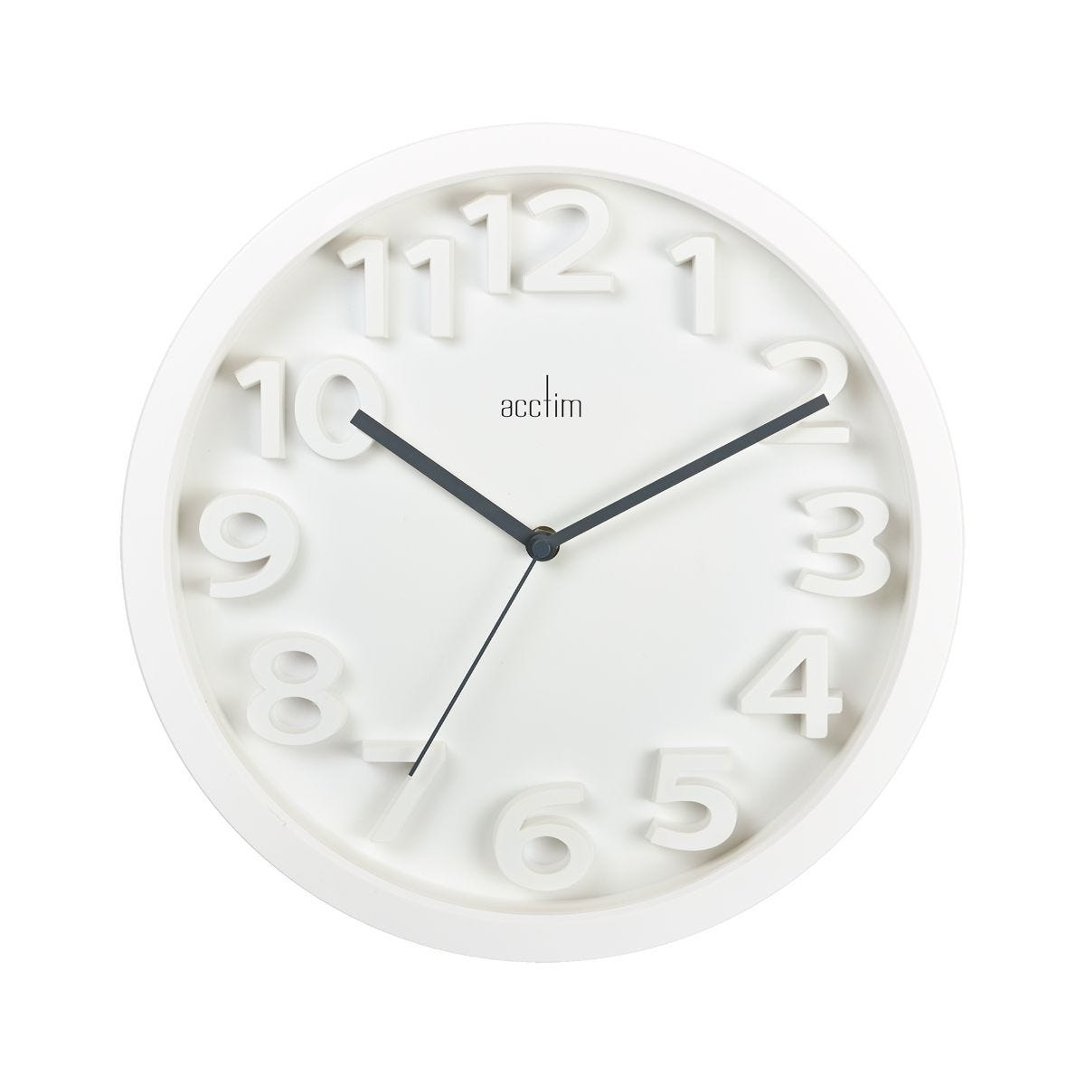 Image of Acctim Logann Raised Number Wall Clock, White