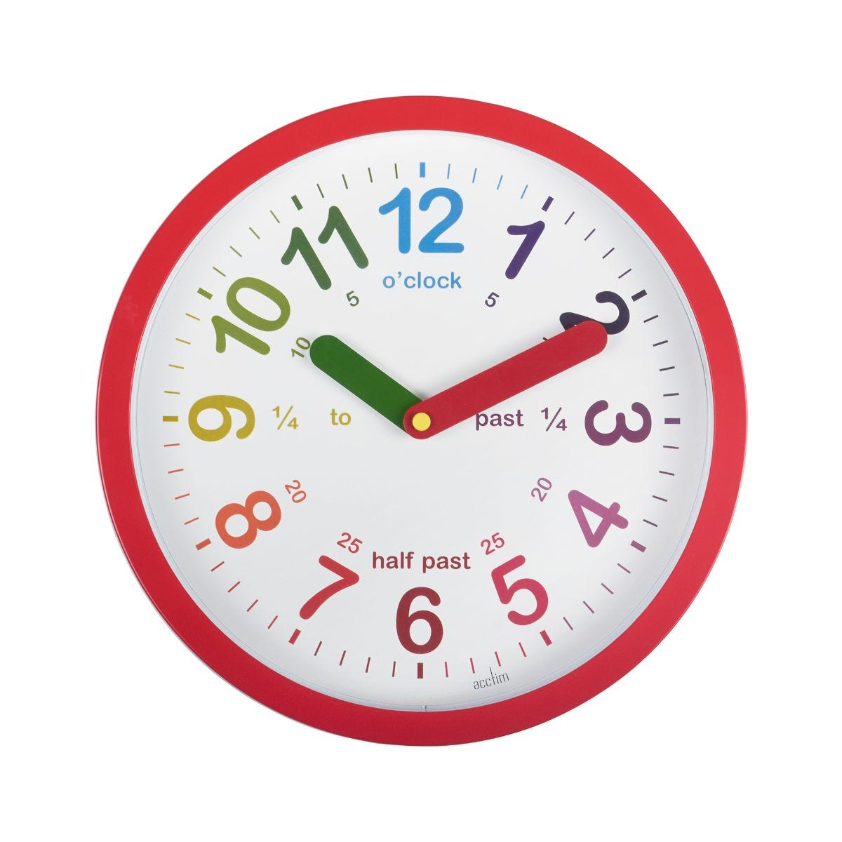 Image of Acctim Lulu Time Teaching Wall Clock, Red