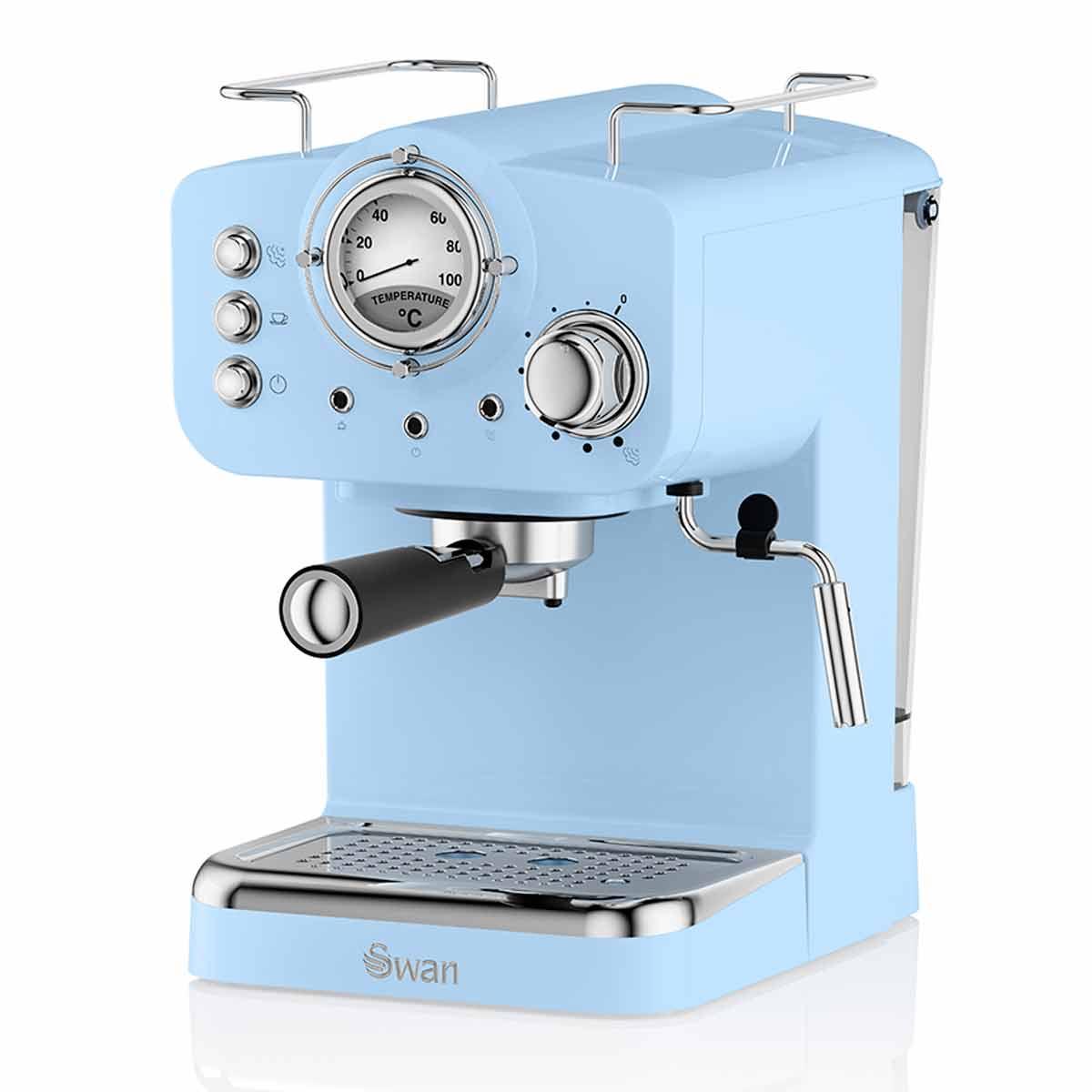 Swan Retro Espresso Coffee Machine, Blue