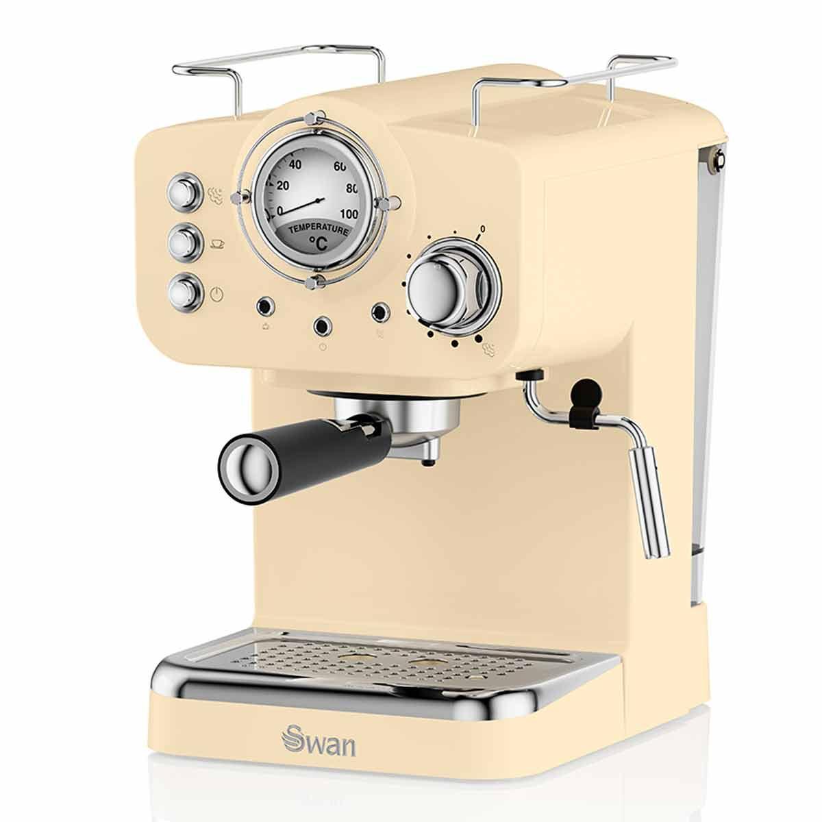 Swan Retro Espresso Coffee Machine, Cream