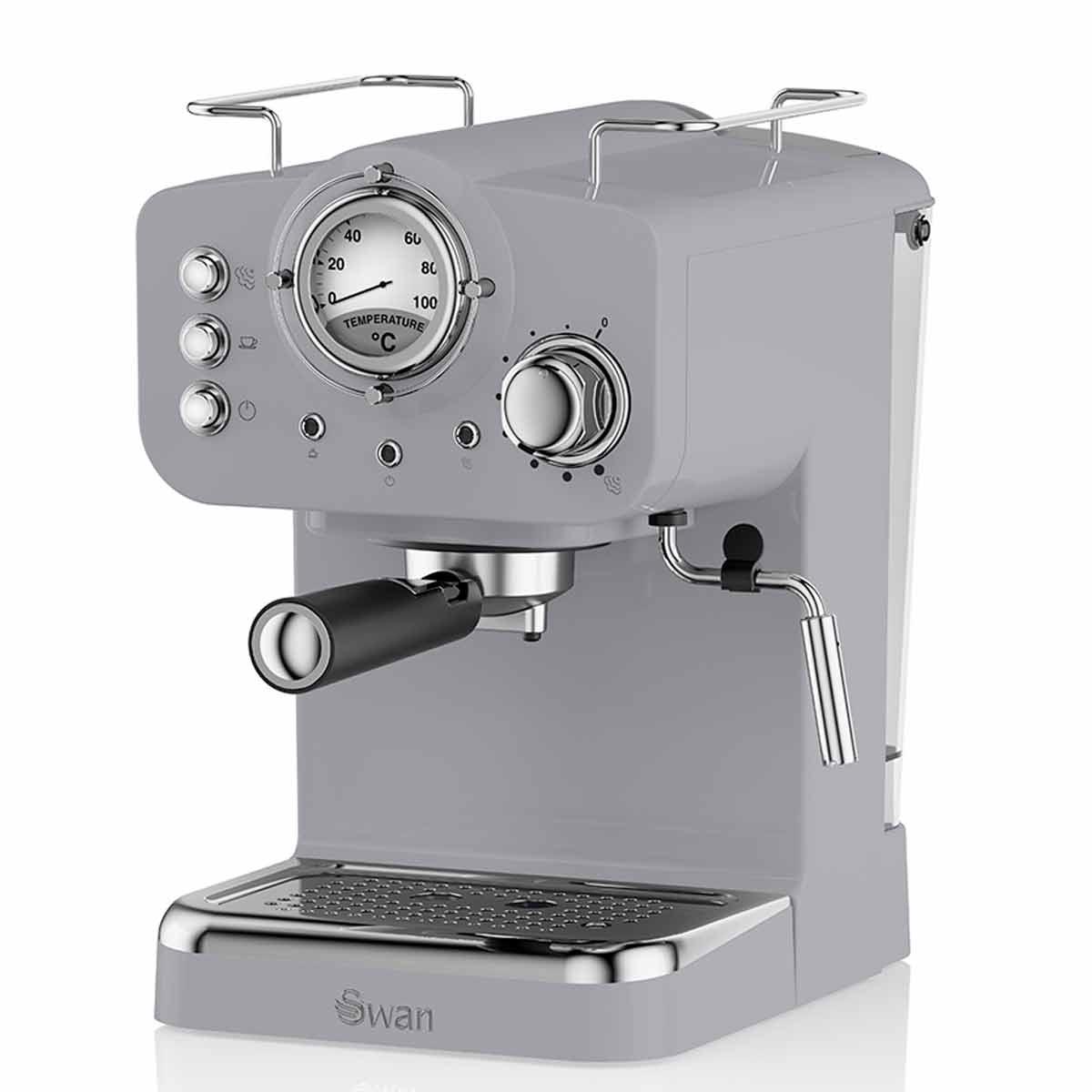 Swan Retro Espresso Coffee Machine, Grey