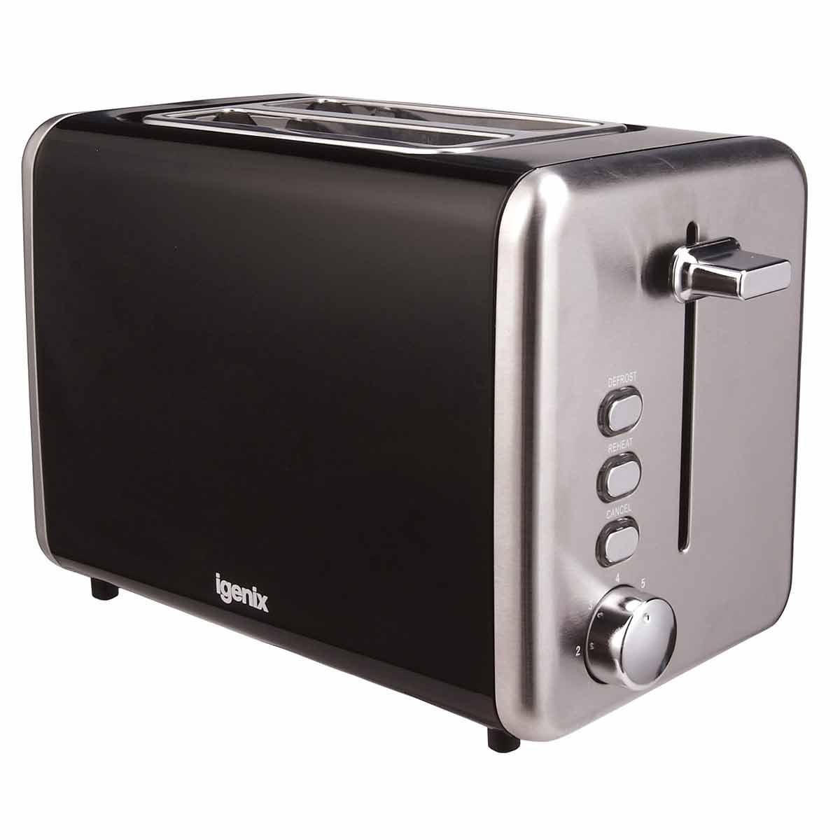 Igenix 2 Slice Toaster with Stainless Steel, Black