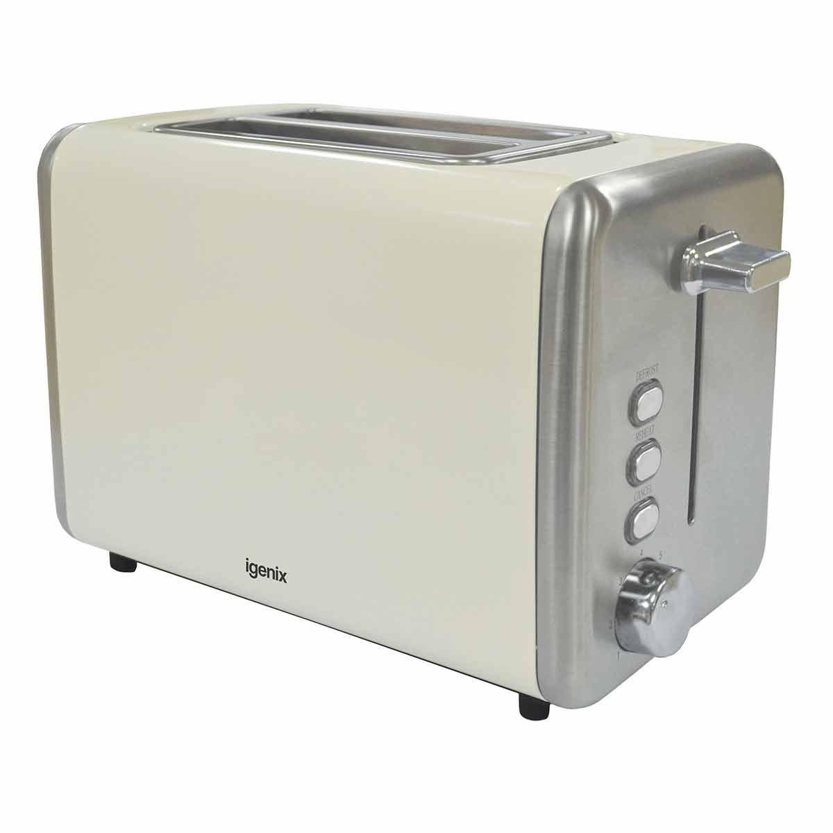 Igenix 2 Slice Toaster with Stainless Steel, Cream