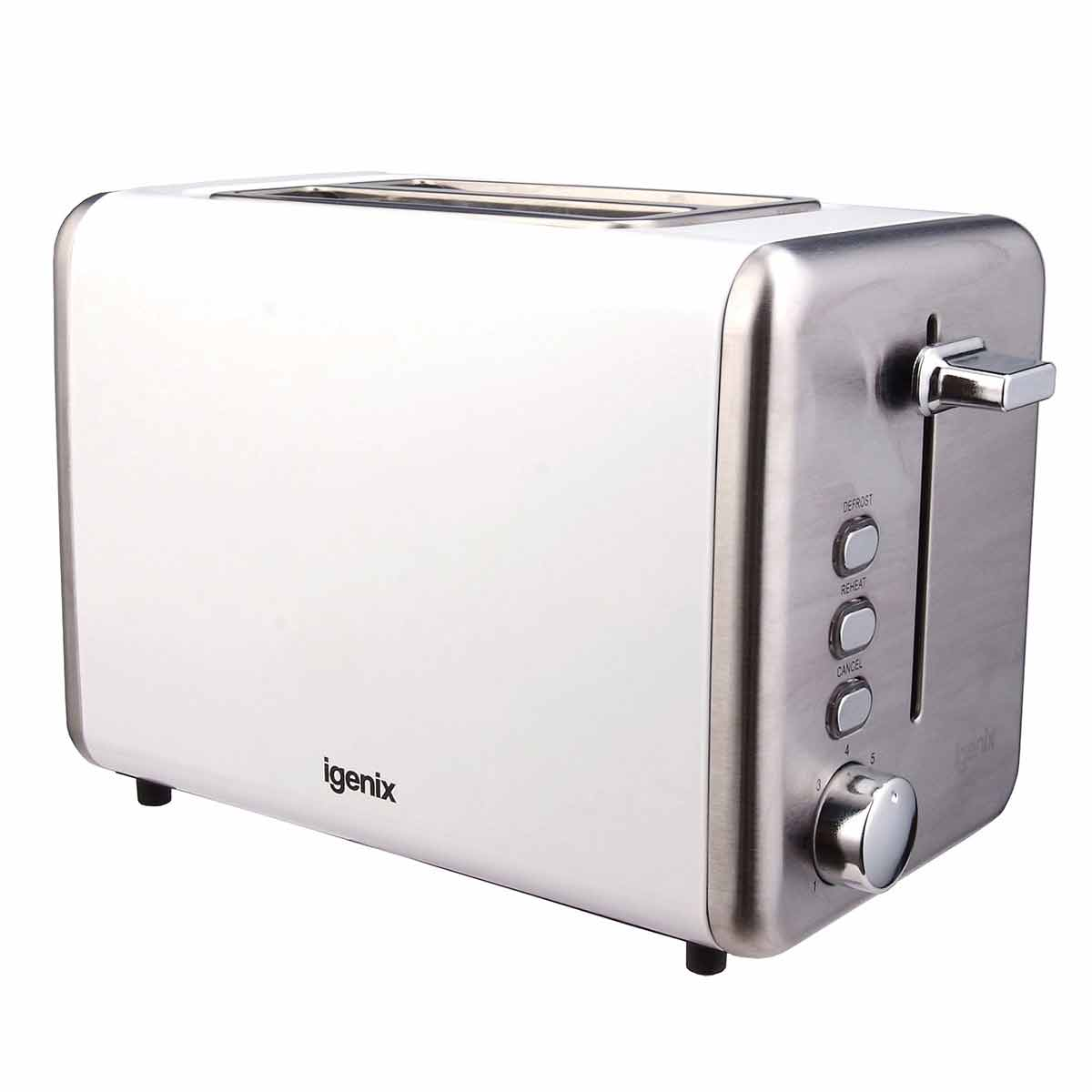 Igenix 2 Slice Toaster with Stainless Steel, White