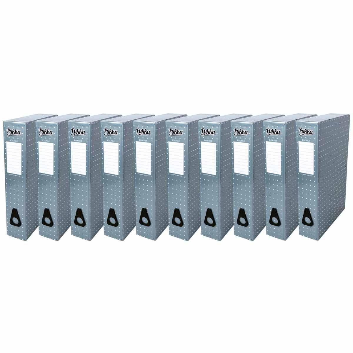Pukka Metallic Foolscap Box File Pack of 10 Metallic Blue