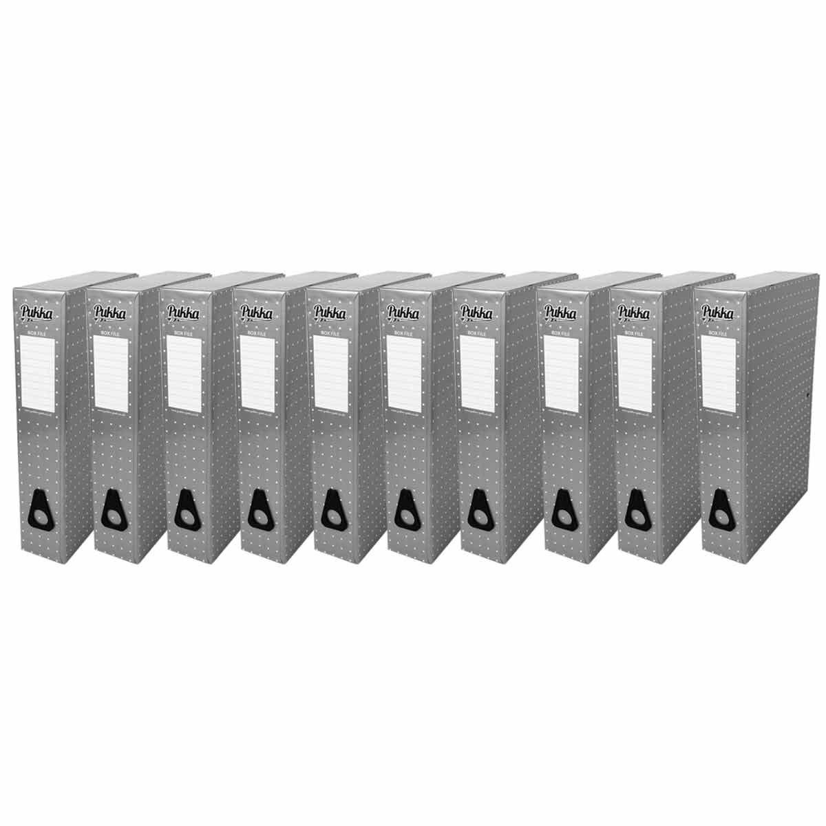 Pukka Metallic Foolscap Box File Pack of 10 Metallic Silver