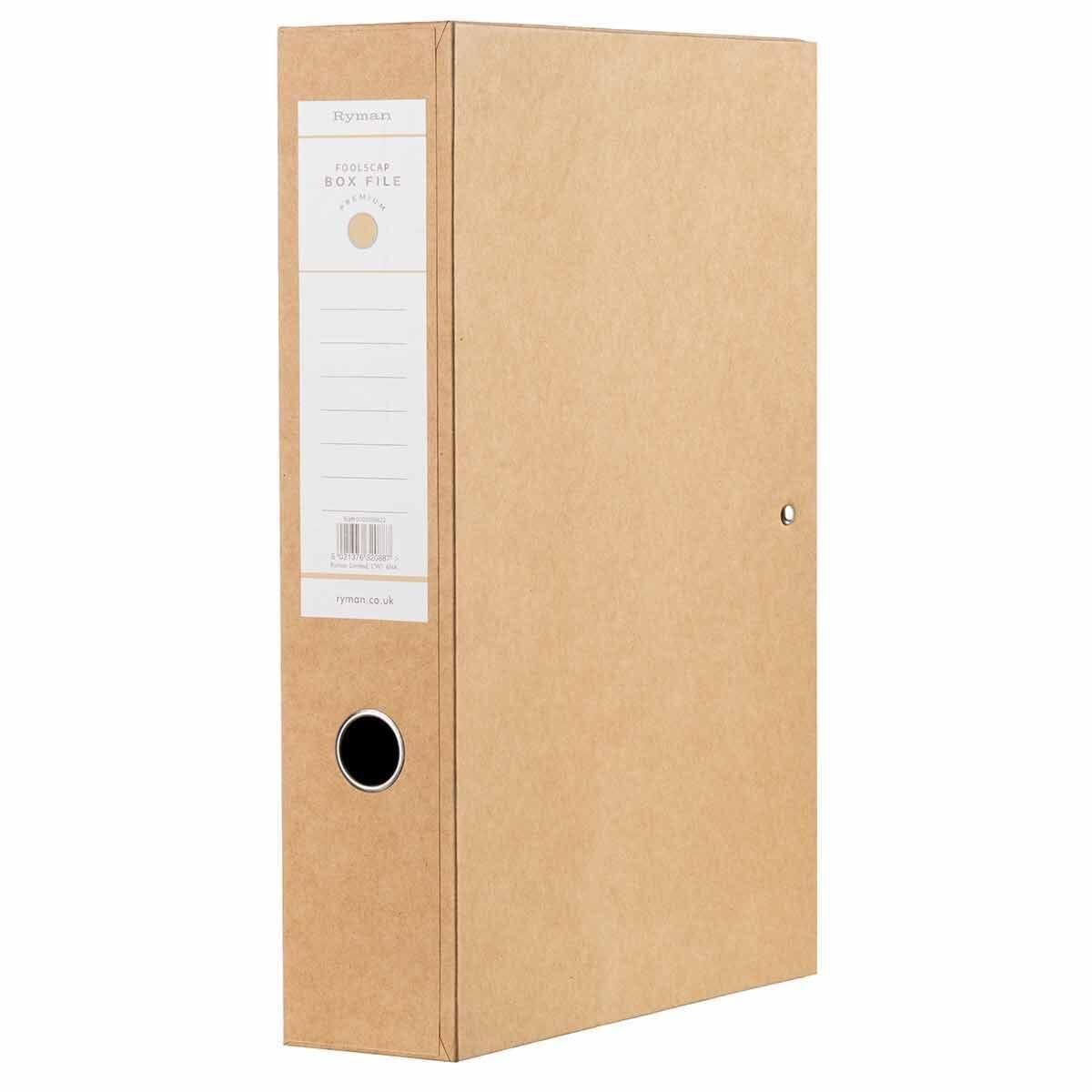 Ryman Kraft Box File Foolscap Pack of 5