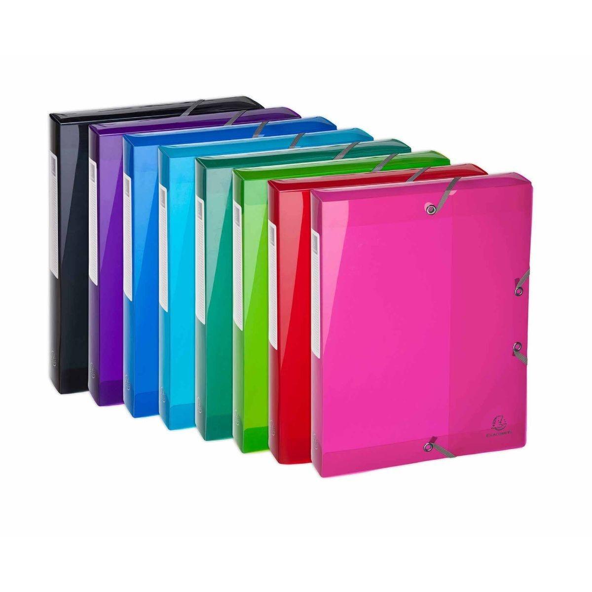Exacompta Iderama Elastic Box File A4 Pack of 8 Assorted