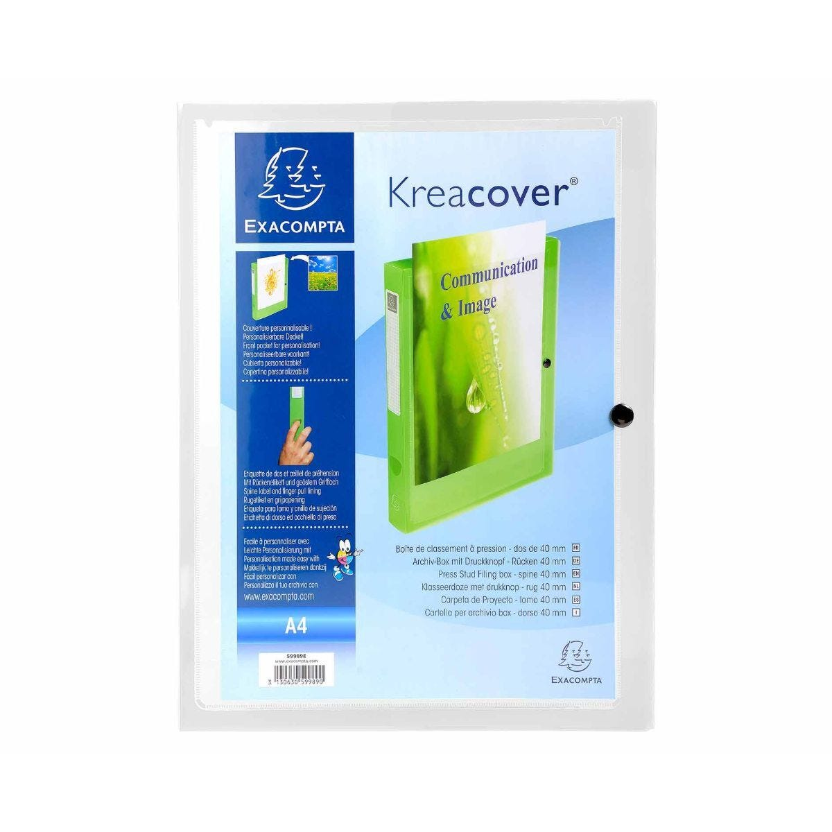 Exacompta Kreacover Stud Box File A4 Pack of 5 Clear