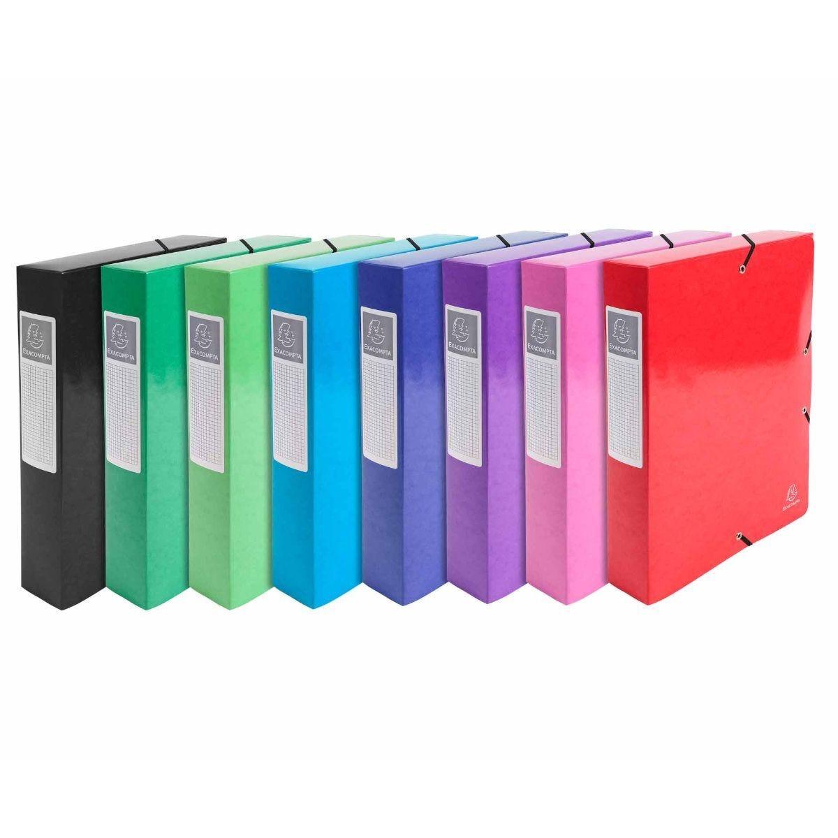 Exacompta Iderama Elasticated A4 Box File 60mm Pack of 8 Assorted