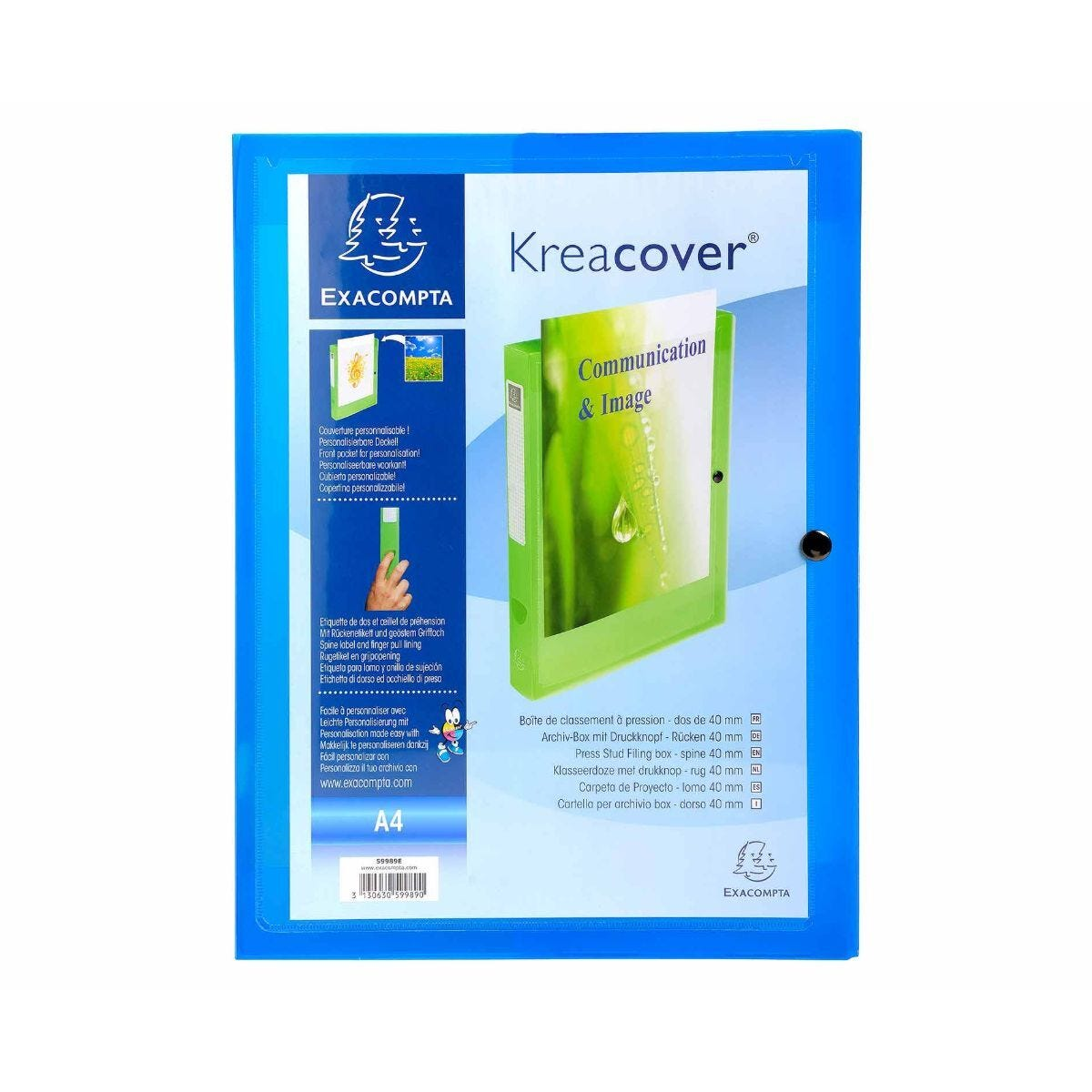 Exacompta Kreacover Press Stud Box File A4 40mm Pack of 5 Blue