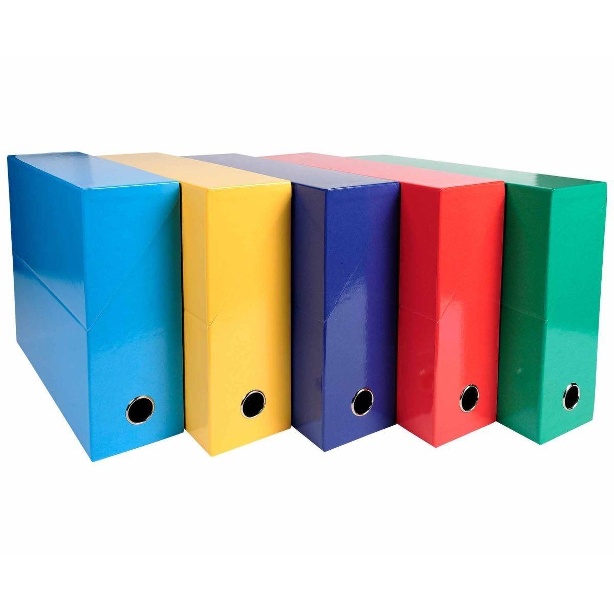 Exacompta Iderama Filing Box 90mm Pack of 5 Assorted