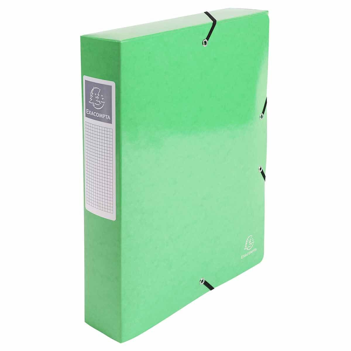 Exacompta Iderama Elasticated A4 Box File 60mm Pack of 8 Lime Green