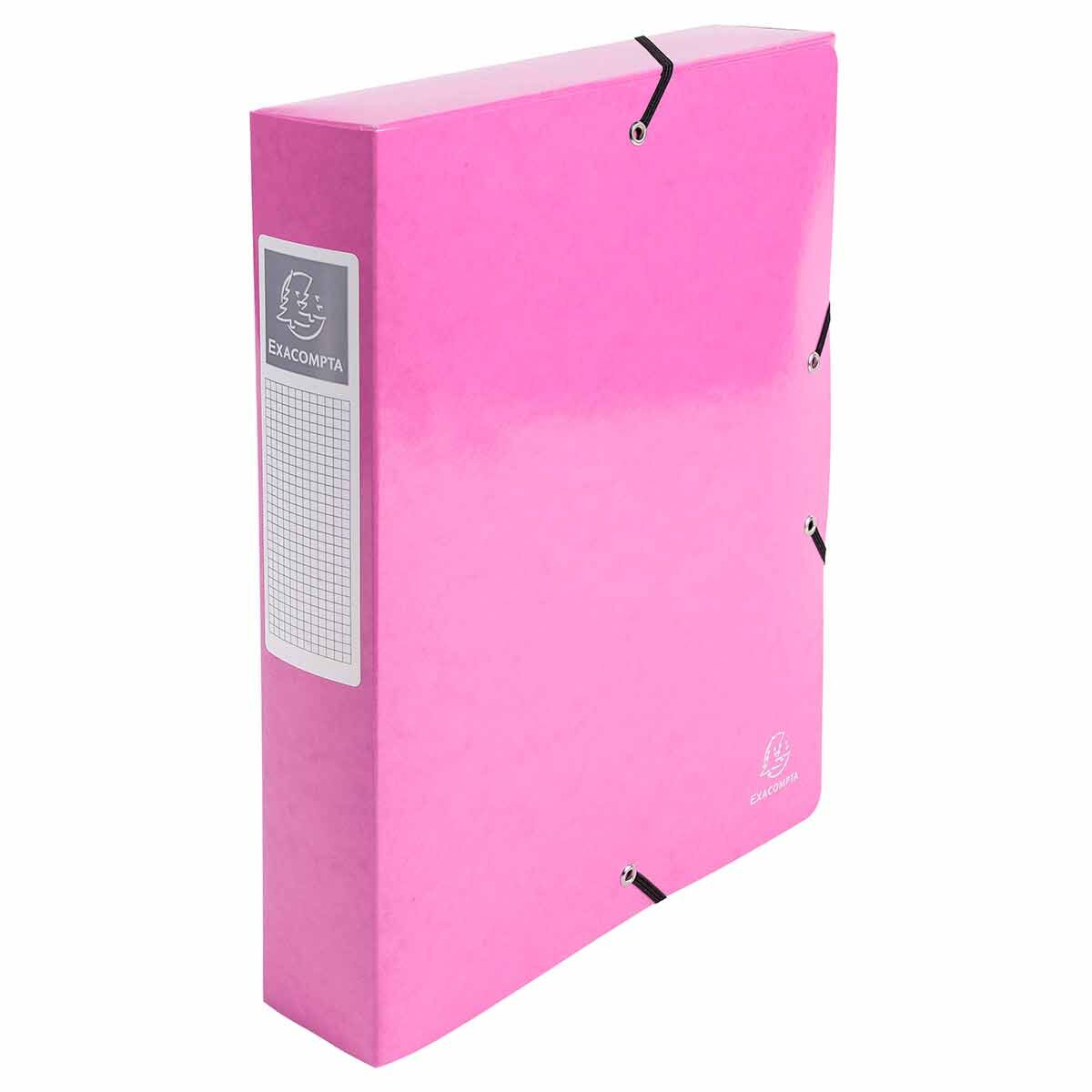 Exacompta Iderama Elasticated A4 Box File 60mm Pack of 8 Pink
