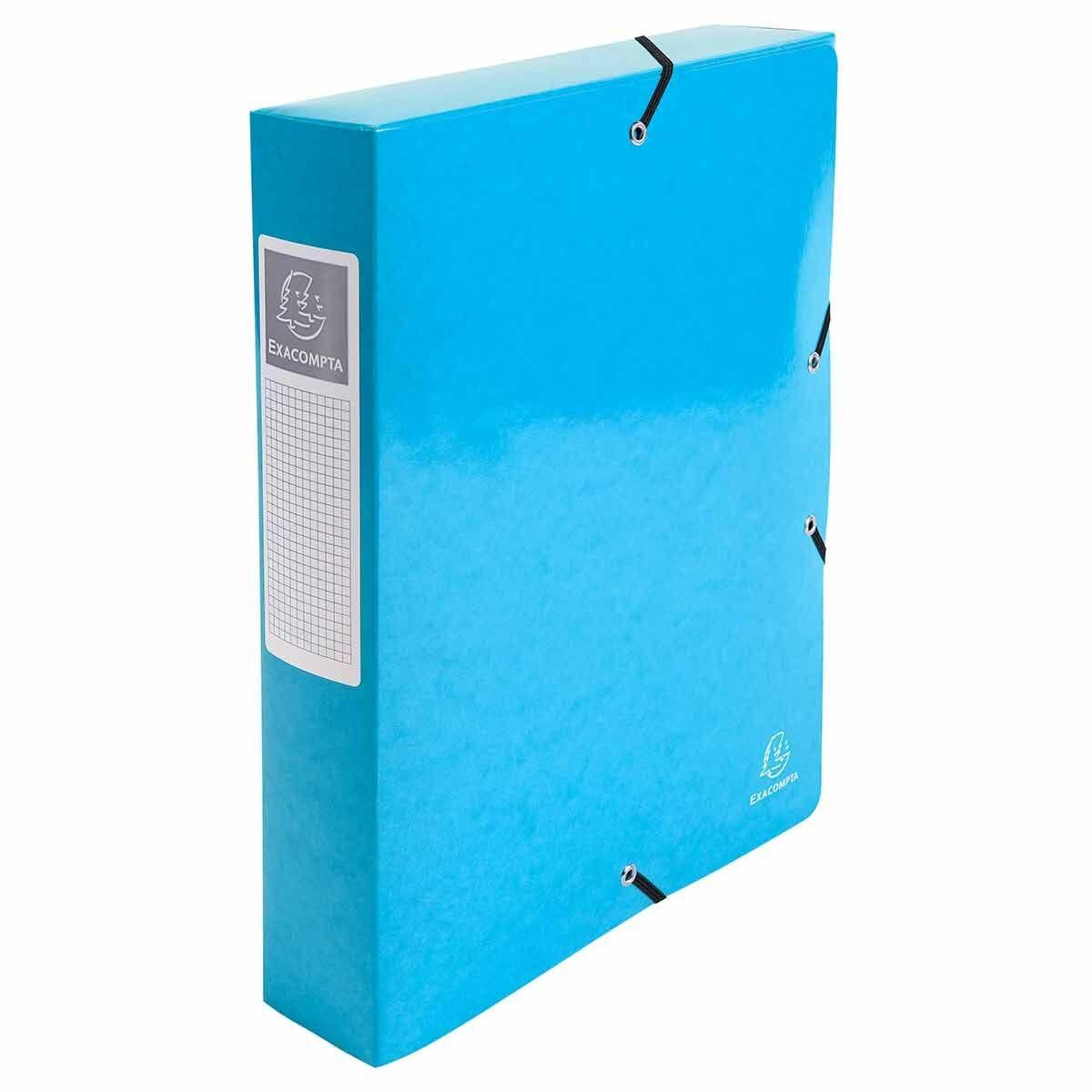 Exacompta Iderama Elasticated A4 Box File 60mm Pack of 8 Light Blue