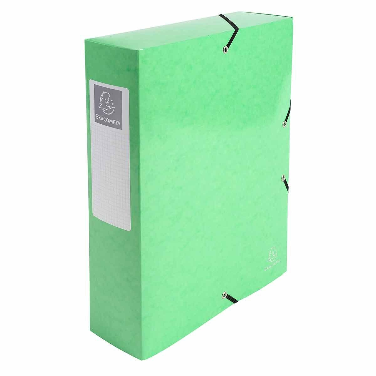 Exacompta Iderama Elasticated A4 Box File 80mm Pack of 6 Lime Green