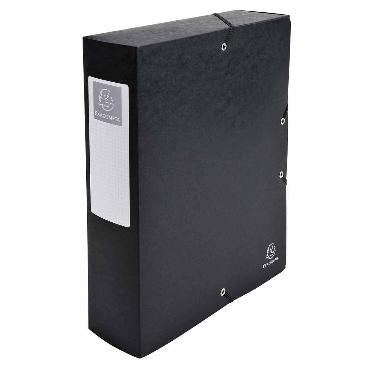 Exacompta Elasticated Box File Pressboard A4 80mm Pack of 6 Black