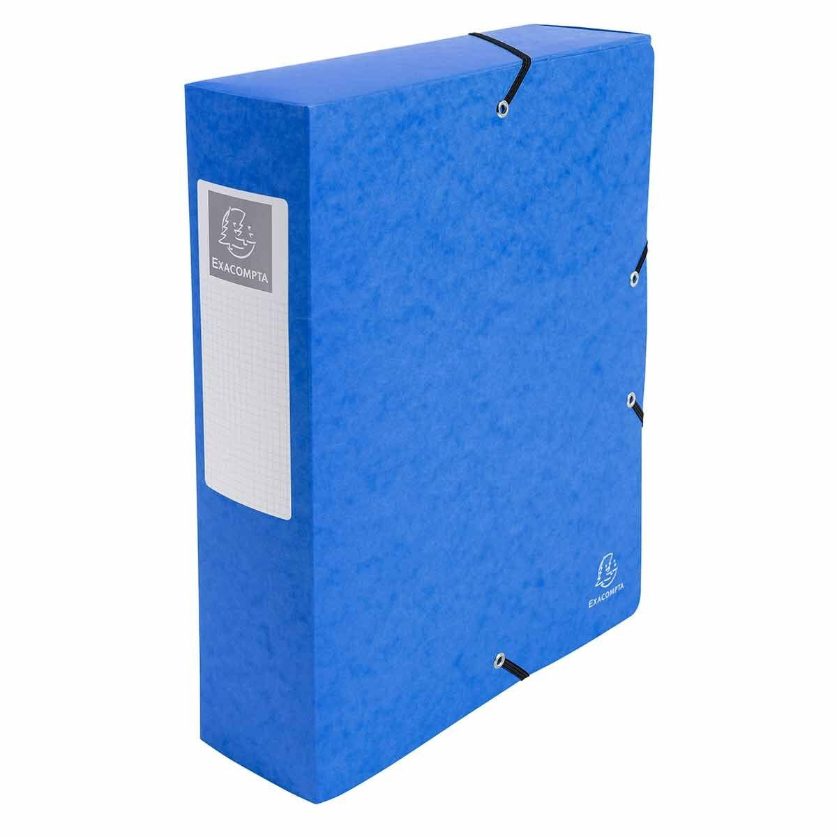 Exacompta Elasticated Box File Pressboard A4 80mm Pack of 6 Blue