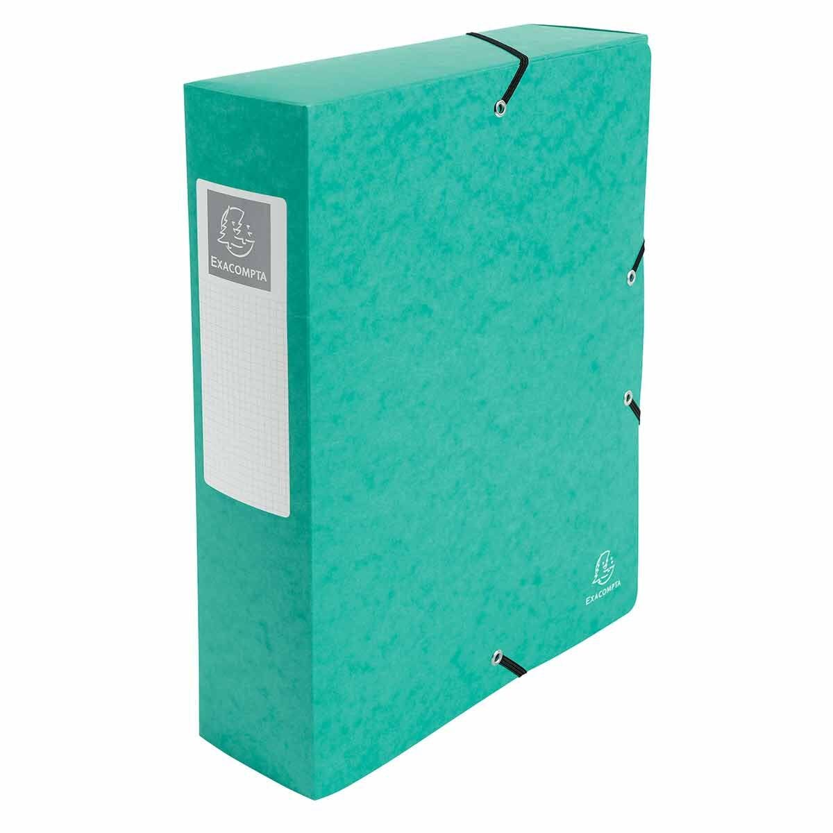 Exacompta Elasticated Box File Pressboard A4 80mm Pack of 6 Green