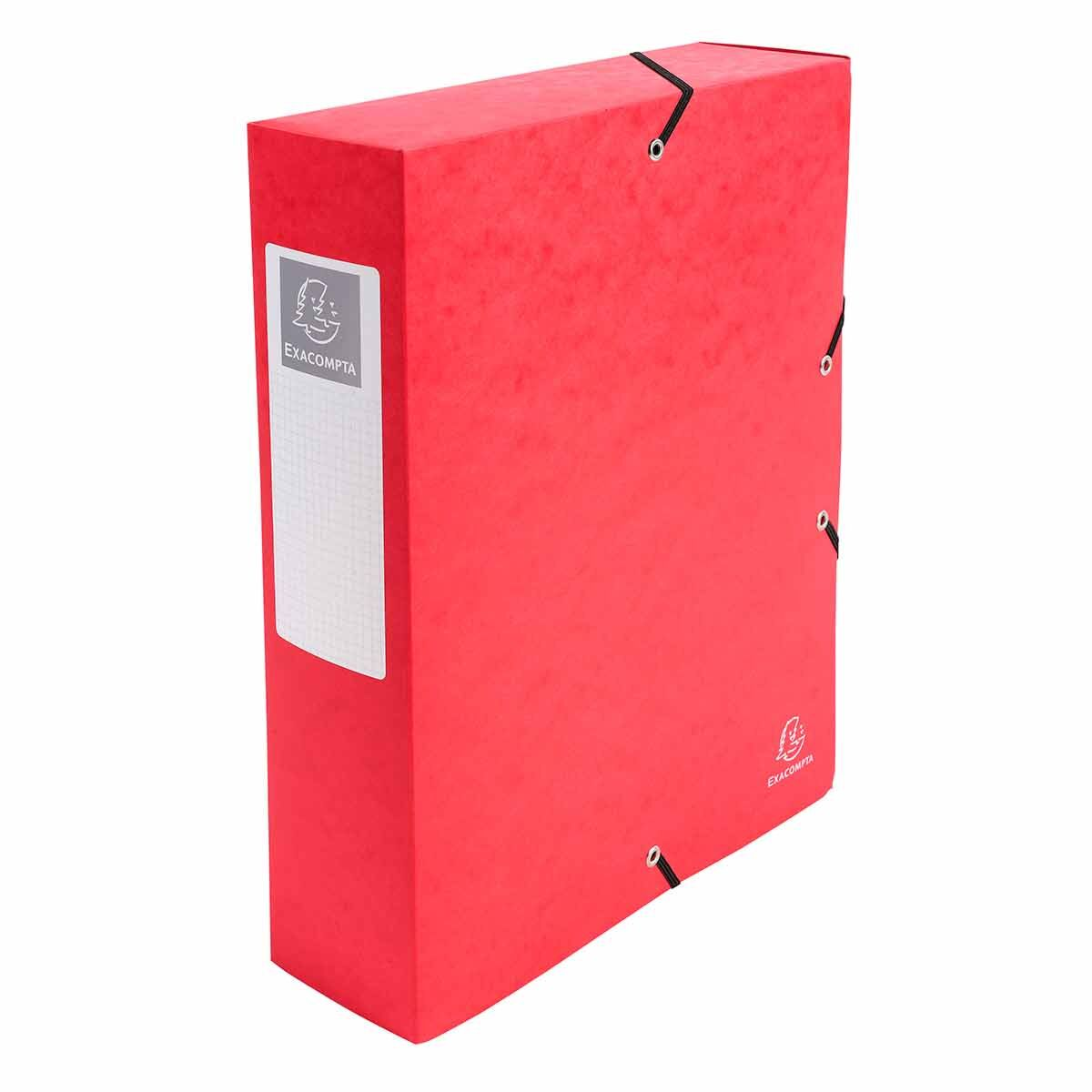 Exacompta Elasticated Box File Pressboard A4 80mm Pack of 6 Red