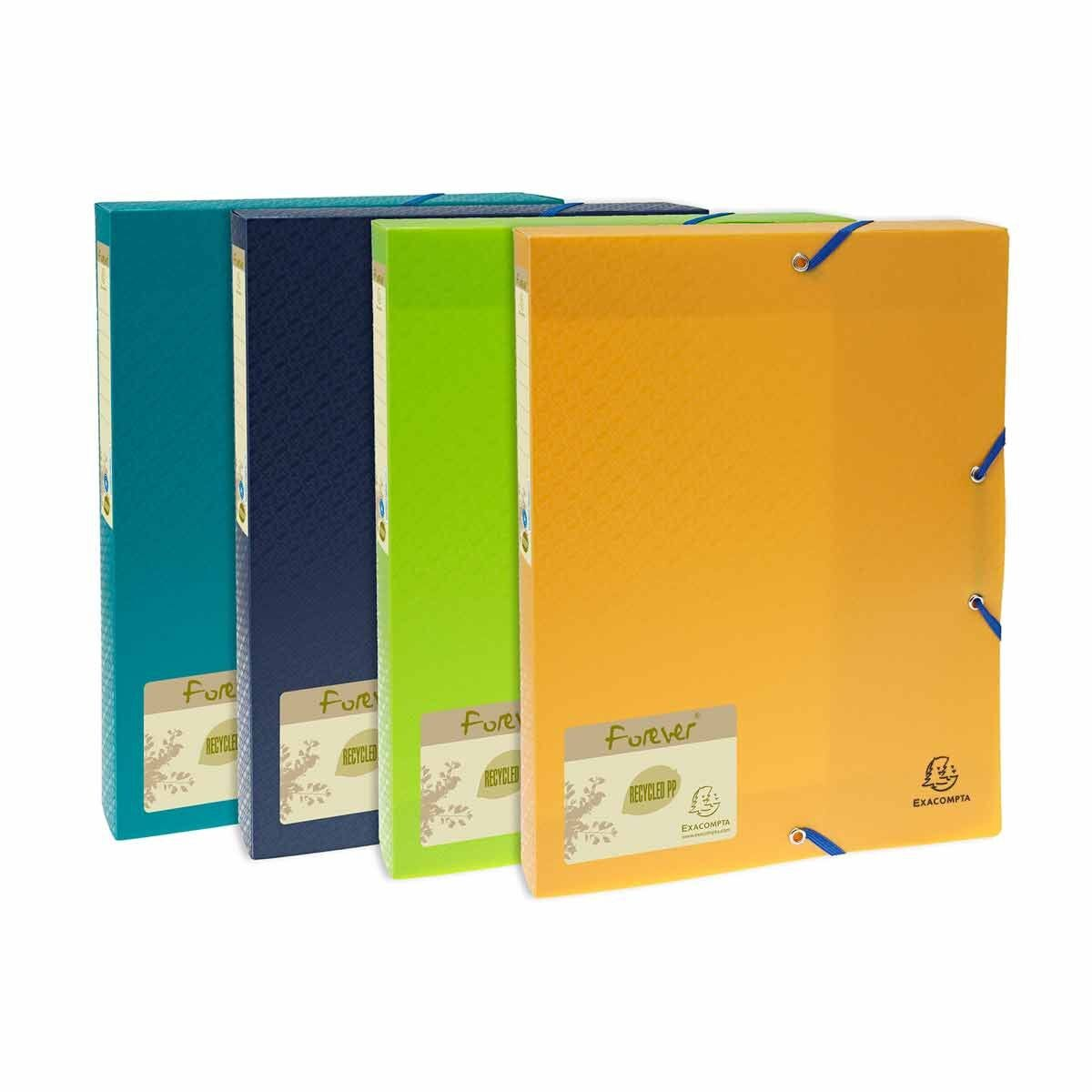 Exacompta Forever Polypropylene Elasticated Box File A4 40mm Pack of 8 Assorted